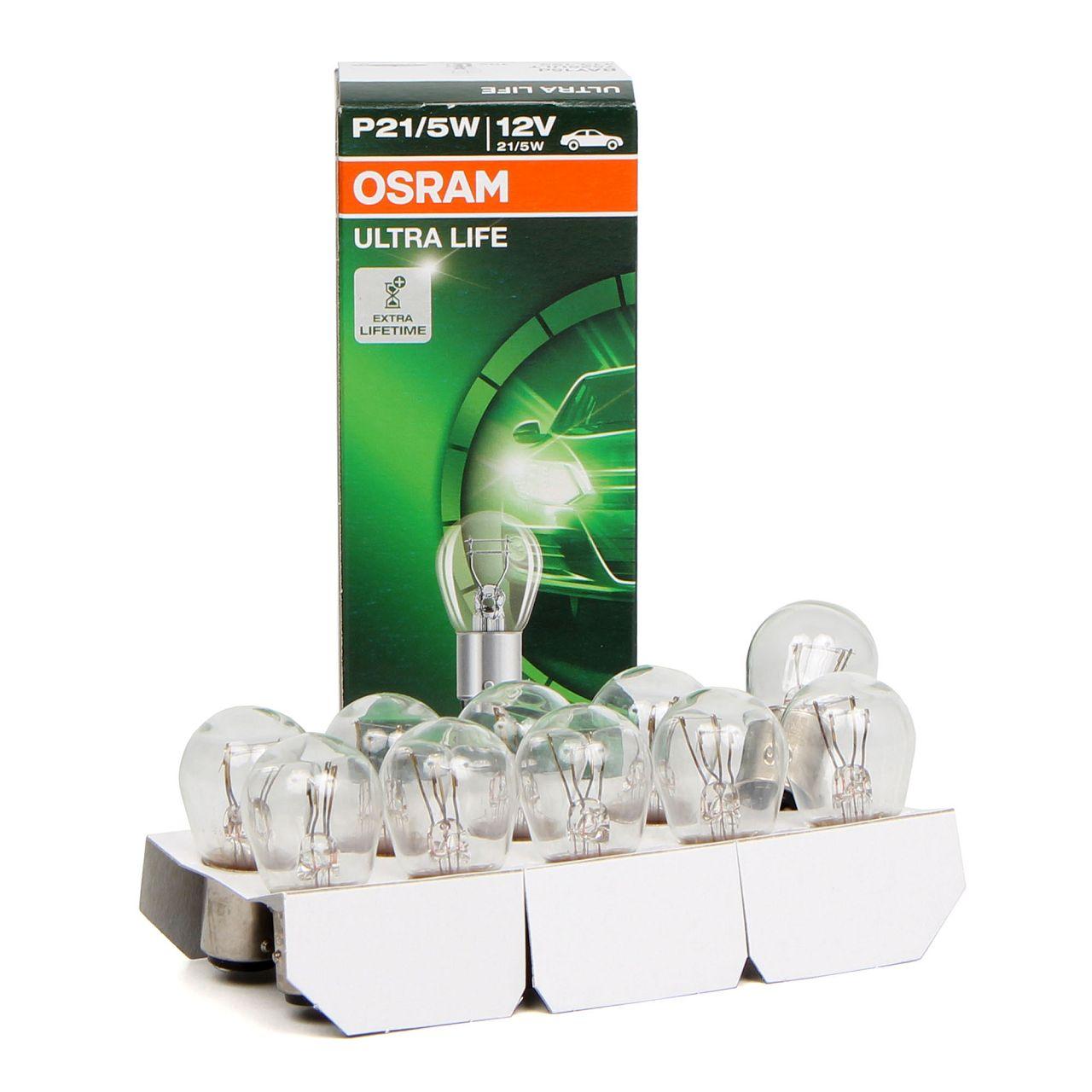 10x OSRAM Kugellampe Stecksockel P21/5W ULTRA LIFE 12V 21/5W BAY15d 7528ULT