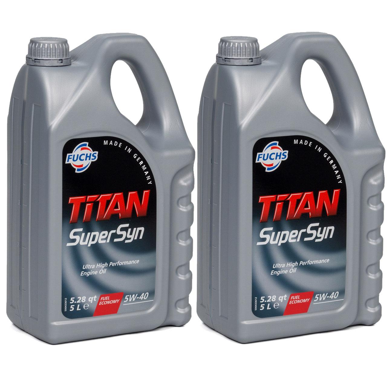 10L 10 Liter FUCHS MOTORÖL TITAN SuperSyn 5W-40 VW 502.00/505.00 MB 229.3 RN0700