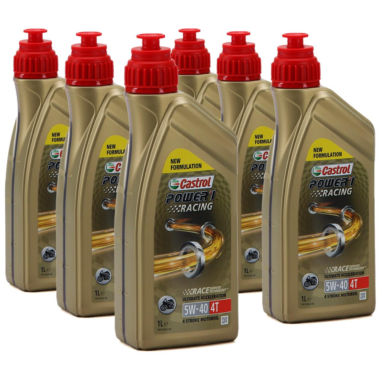 CASTROL MOTORRAD Motoröl Öl POWER 1 RACING 4T 5W-40 JASO MA-2 - 6L 6 Liter