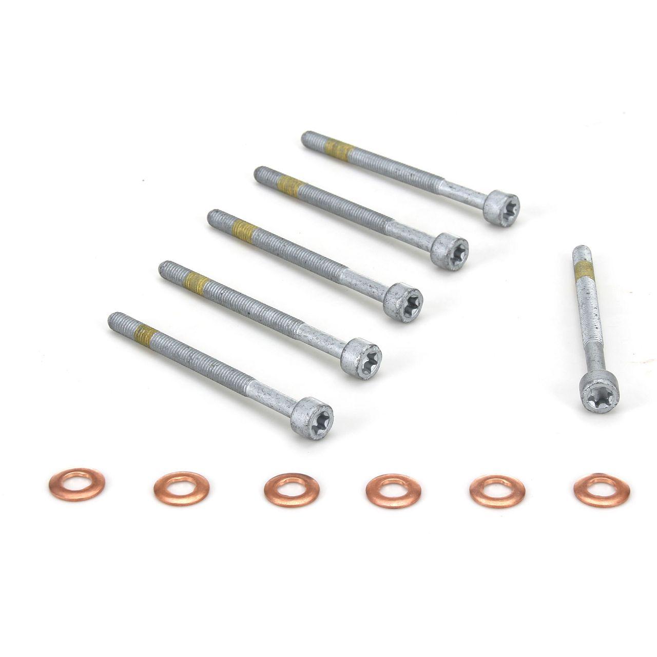 6x Zylinderschraube + Dichtringe für Einspritzdüse Injektor MERCEDES SMART CDI