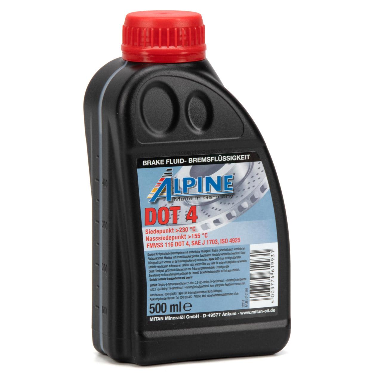 ALPINE 0101102 Bremsflüssigkeit Brake Fluid FMVSS 1116 DOT 4 - 500ml