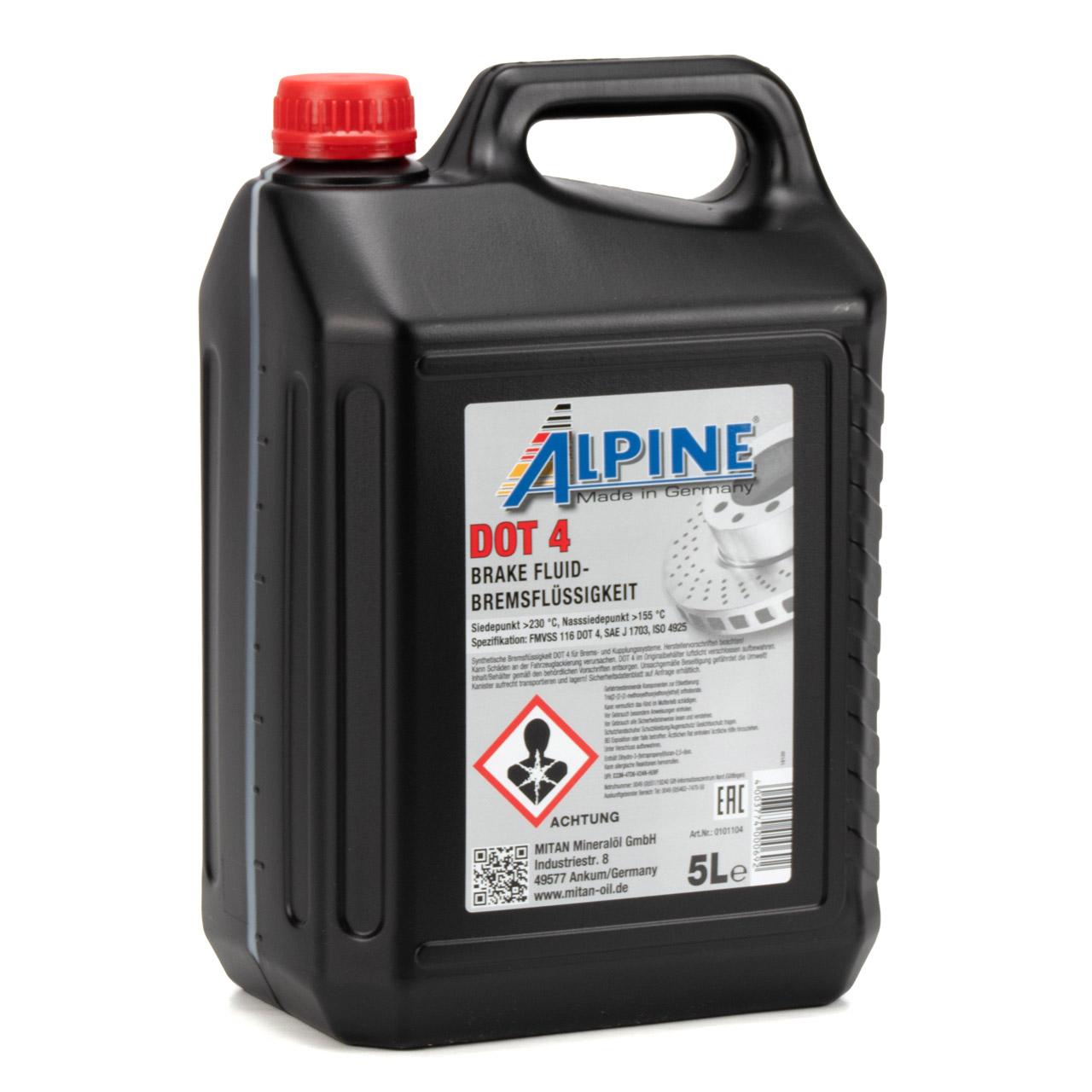 ALPINE 0101104 Bremsflüssigkeit Brake Fluid FMVSS 1116 DOT 4 - 5L 5 Liter