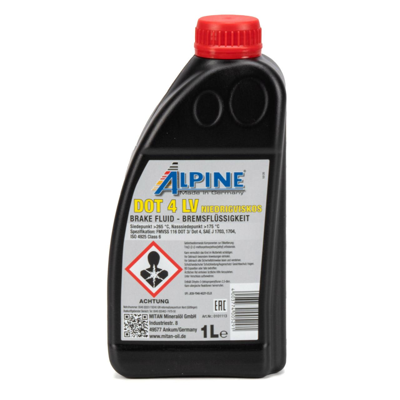 ALPINE 0101113 Bremsflüssigkeit DOT 4 LV FMVSS 116 DOT 3/DOT4 - 1L 1 Liter