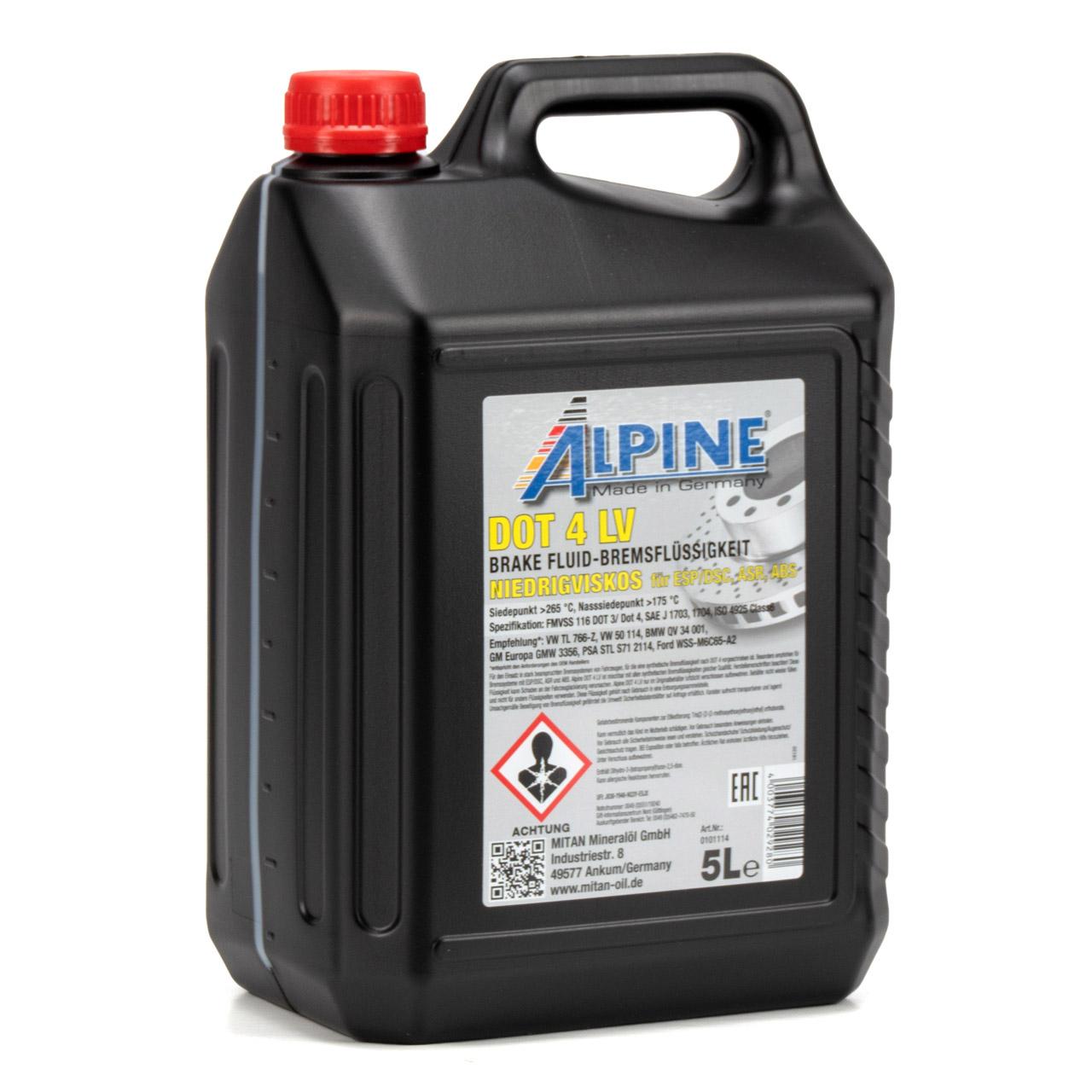 ALPINE 0101114 Bremsflüssigkeit DOT 4 LV FMVSS 116 DOT 3/DOT4 - 5L 5 Liter