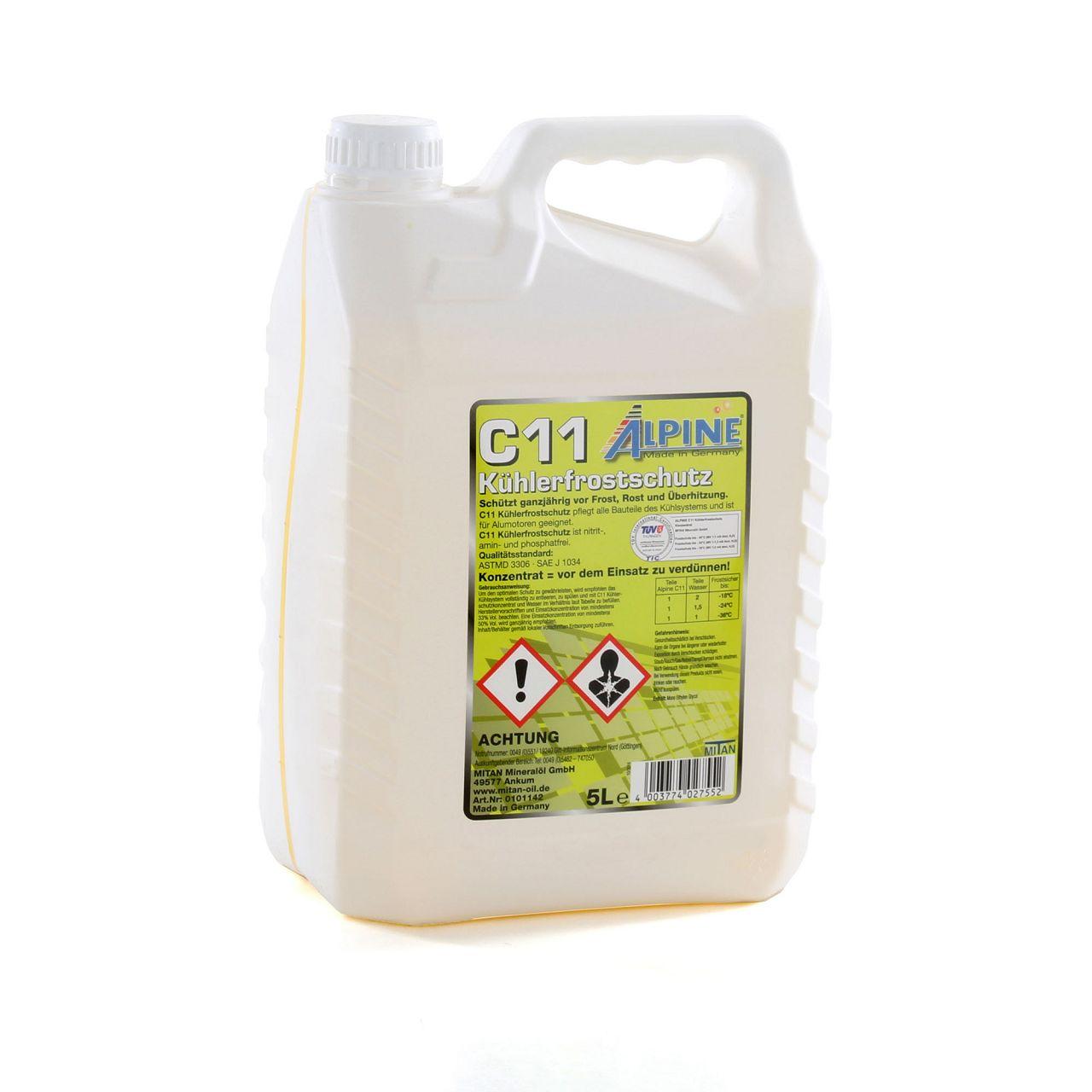 ALPINE Frostschutz Kühler Kühlerfrostschutz Konzentrat 5L C11 G11 GELB