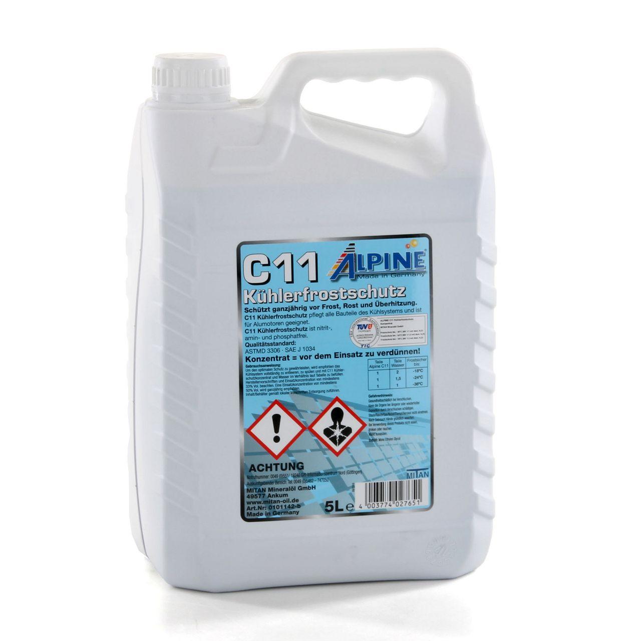ALPINE Frostschutz Kühler Kühlerfrostschutz Konzentrat 5L C11 G11 BLAU