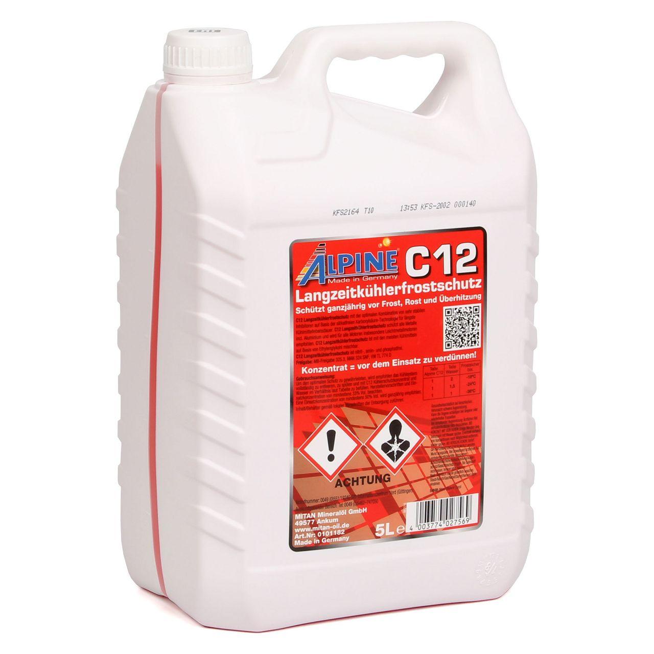 ALPINE Frostschutz Kühlerfrostschutz Konzentrat C12 G12 ROT 5L 5 Liter