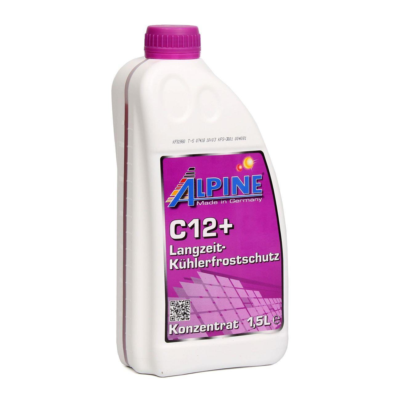ALPINE Frostschutz LANGZEIT Kühlerfrostschutz Konzentrat C12+ G12+ 1,5L VIOLETT