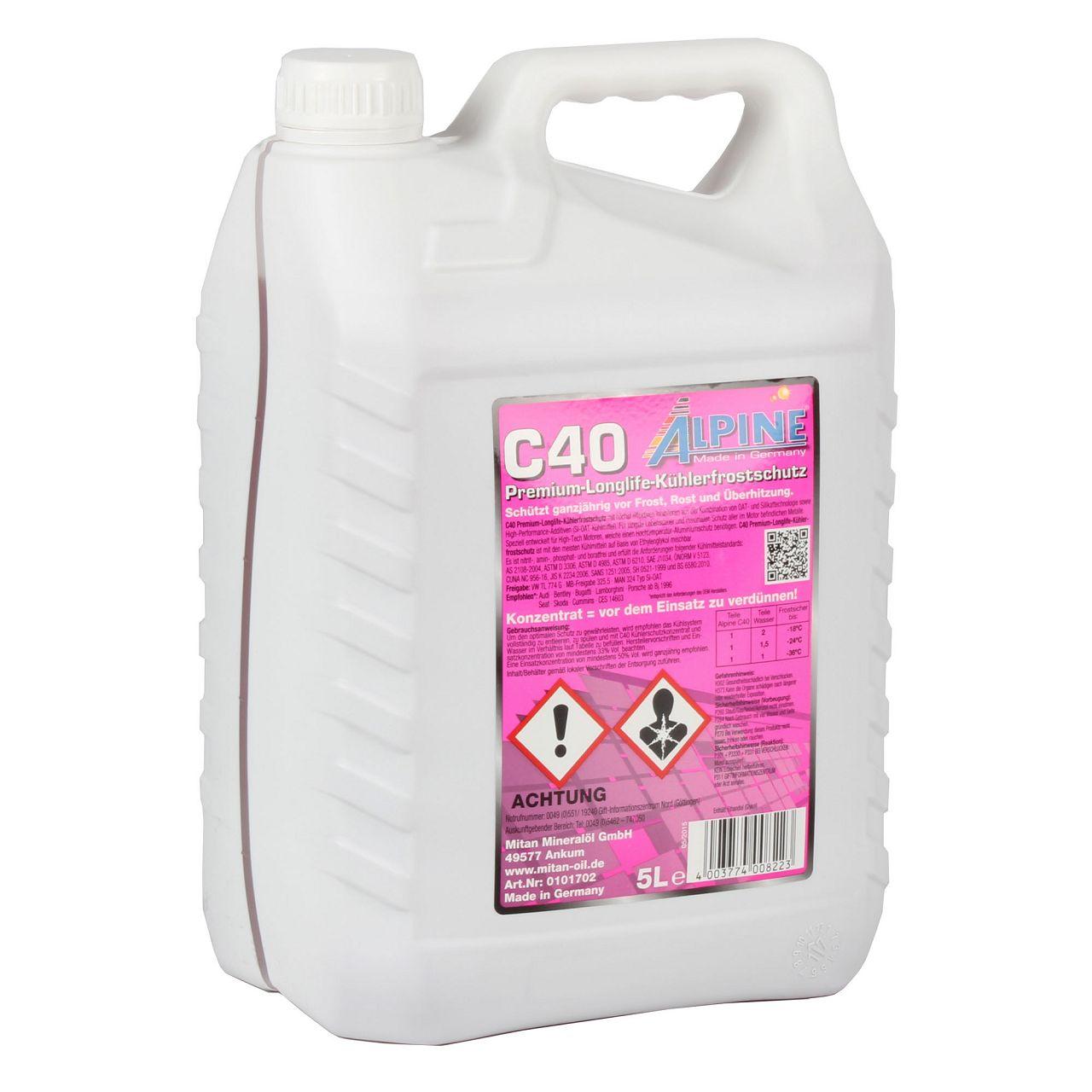 5 Liter 5L ALPINE Frostschutz Kühler Kühlerfrostschutz Konzentrat C40 G40