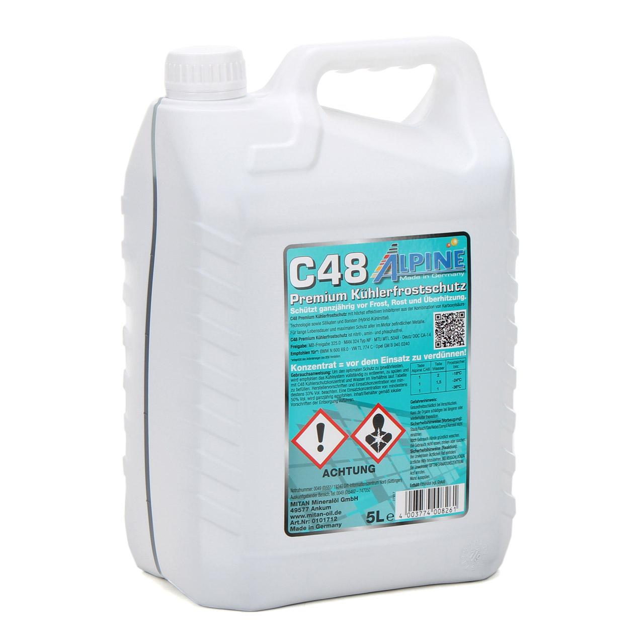 ALPINE Frostschutz Kühlerfrostschutz Konzentrat C48 G48 GRÜN 5L 5 Liter