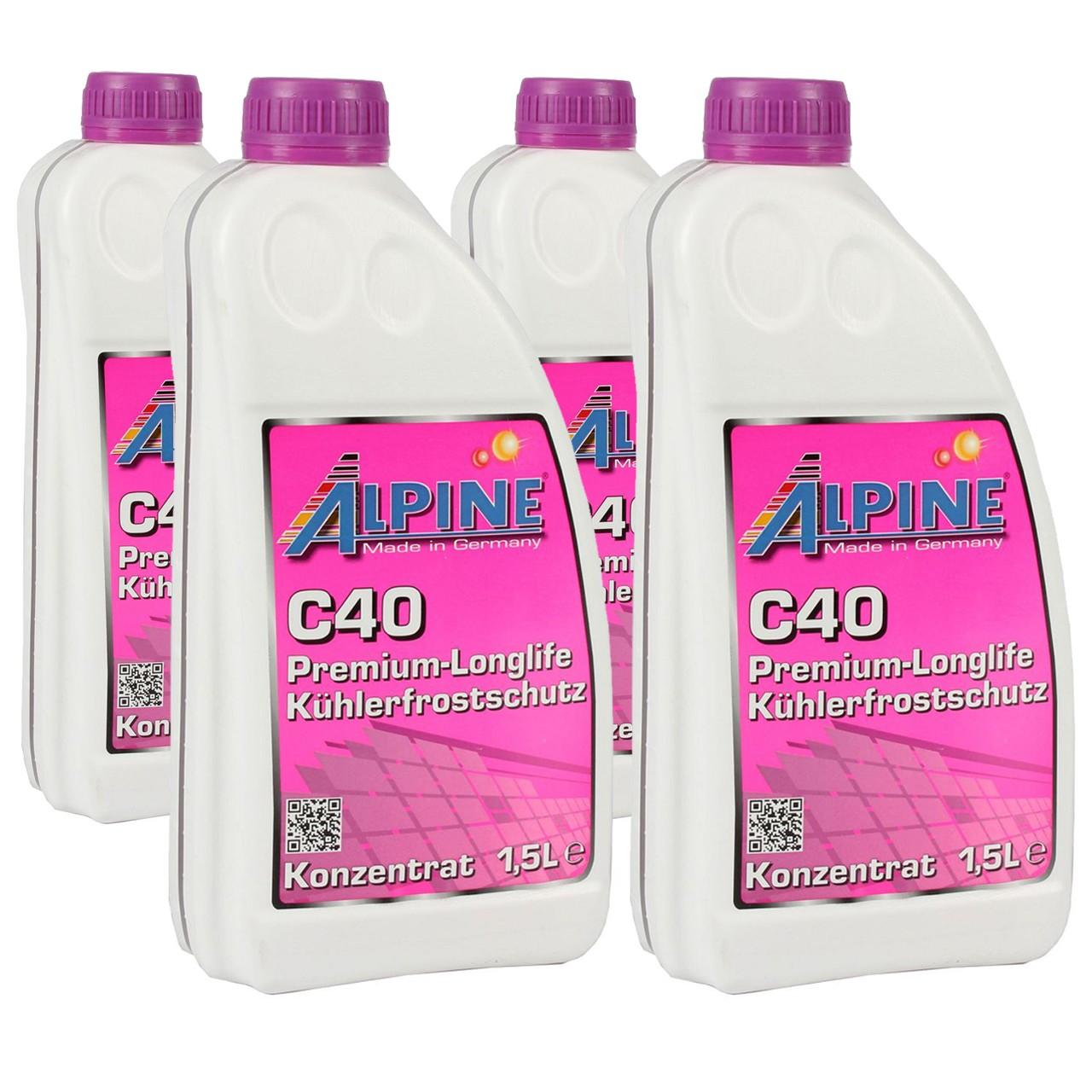 6 Liter 6L ALPINE Frostschutz Kühler Kühlerfrostschutz Konzentrat C40 G40