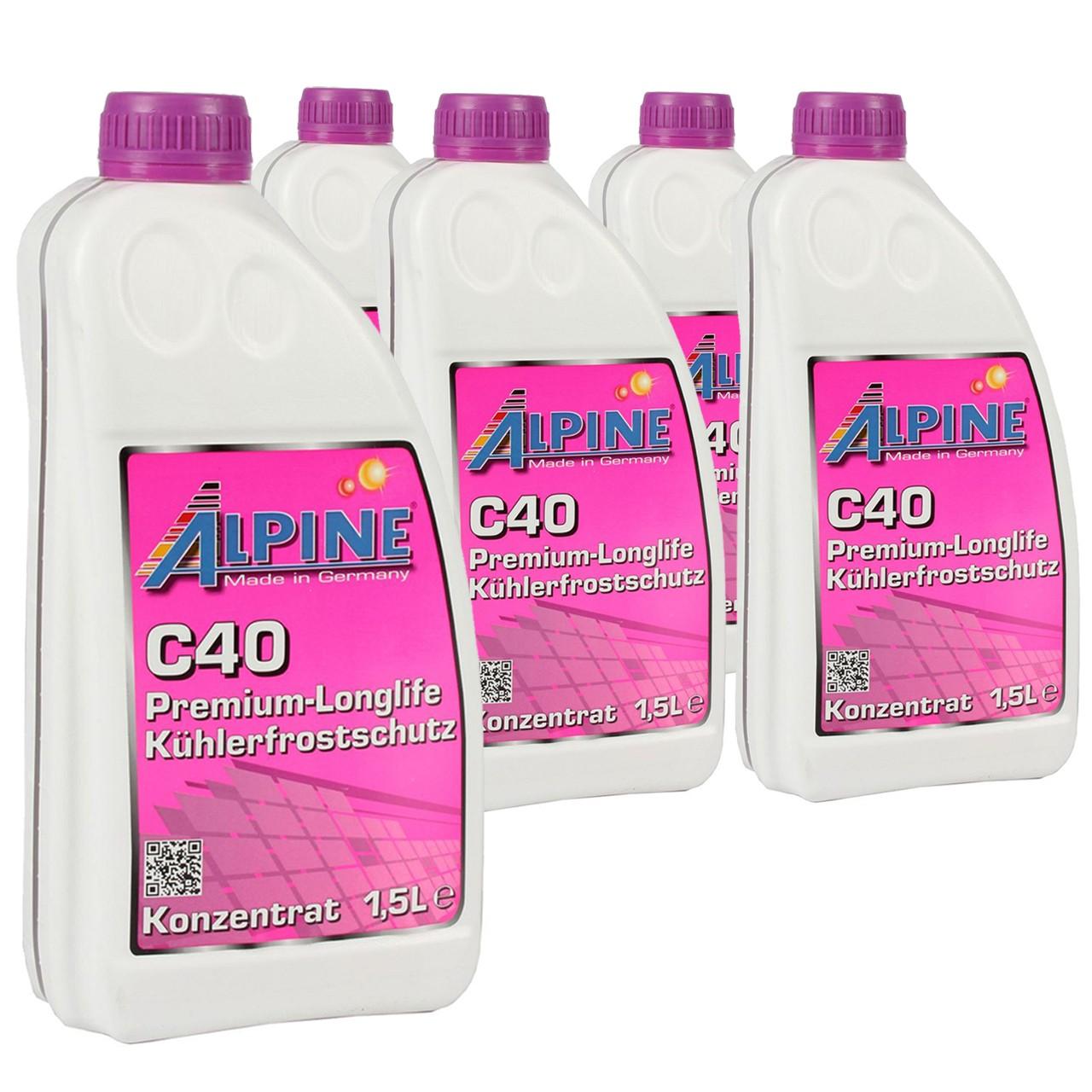 7,5 Liter 7,5L ALPINE Frostschutz Kühler Kühlerfrostschutz Konzentrat C40 G40