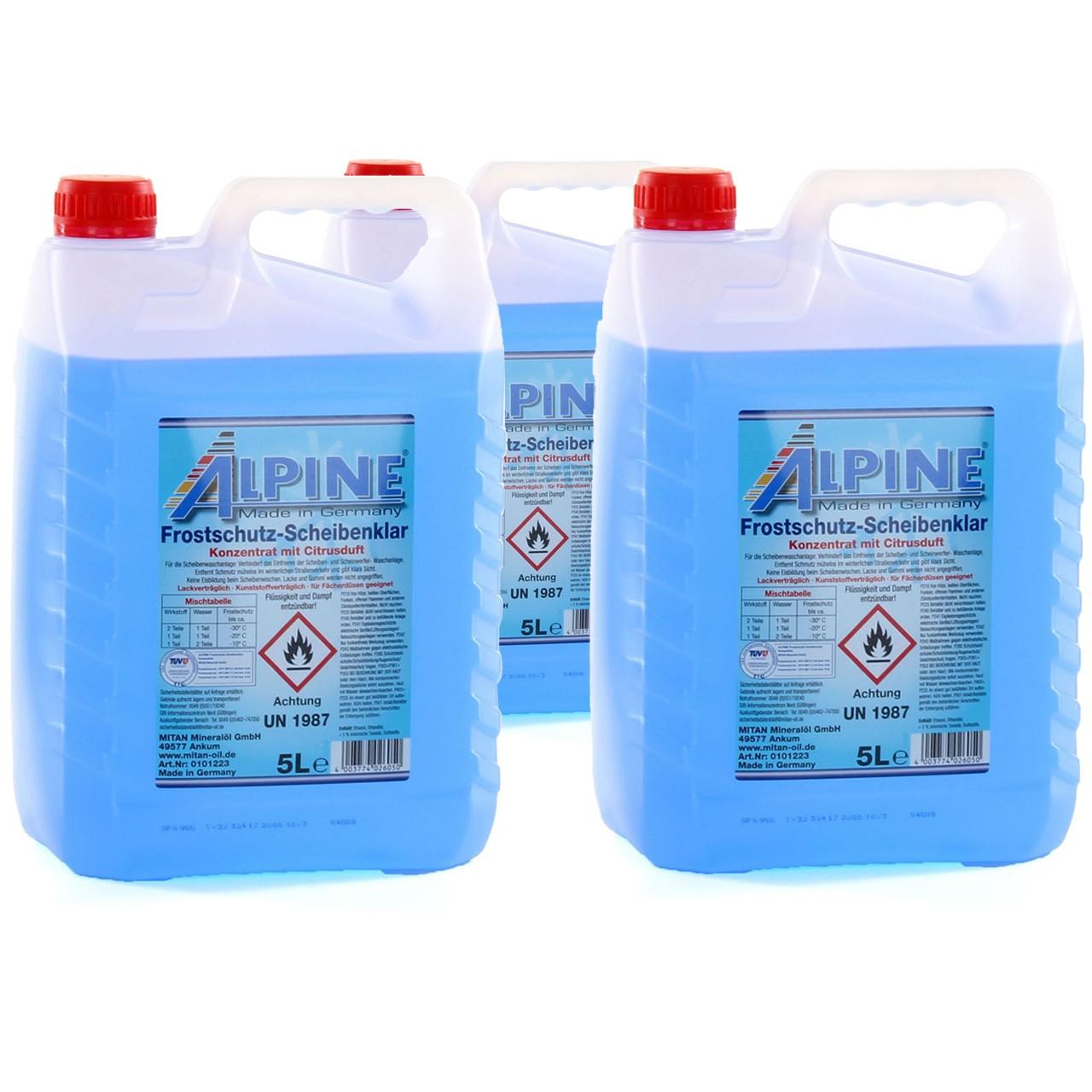 ALPINE Frostschutz SCHEIBENKLAR Scheibenfrostschutz Konzentrat -60°C BLAU 3x 5L