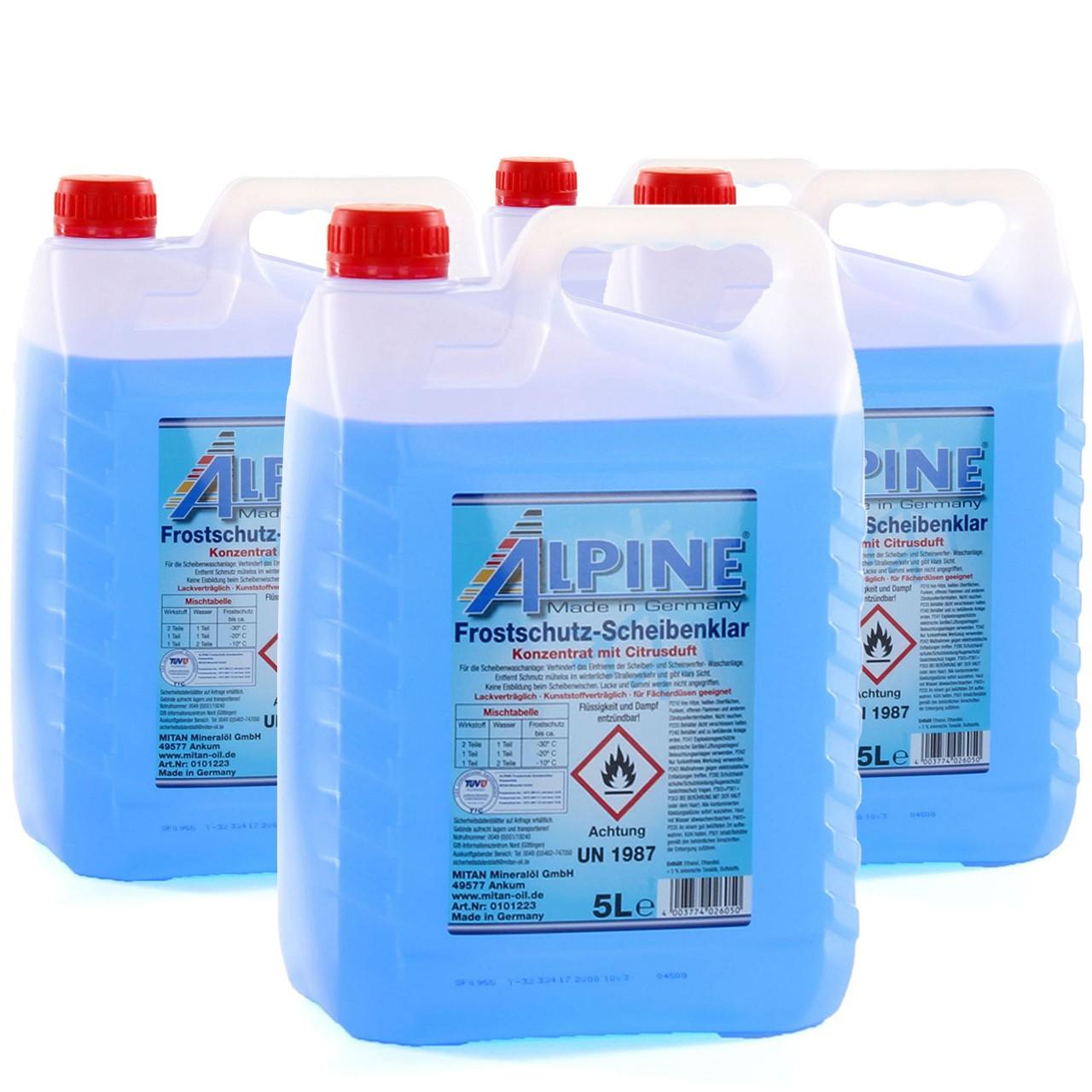 ALPINE Frostschutz SCHEIBENKLAR Scheibenfrostschutz Konzentrat -60°C BLAU 4x 5L