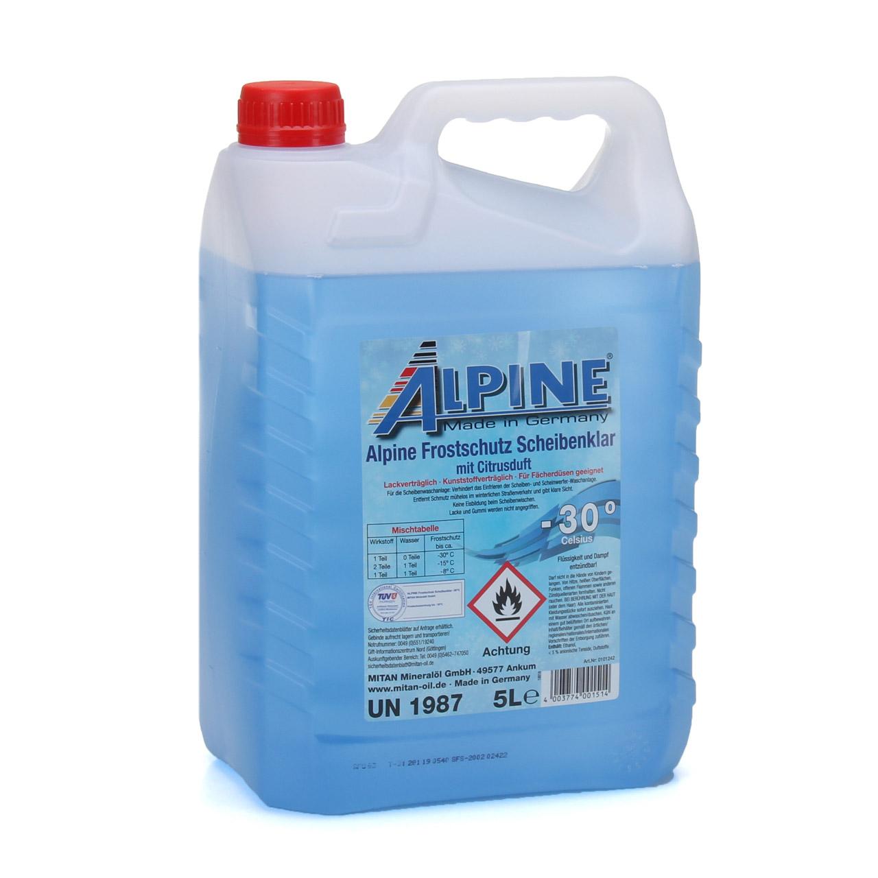 ALPINE Frostschutz SCHEIBENKLAR Scheibenfrostschutz Gebrauchsfertig -30°C 5 L