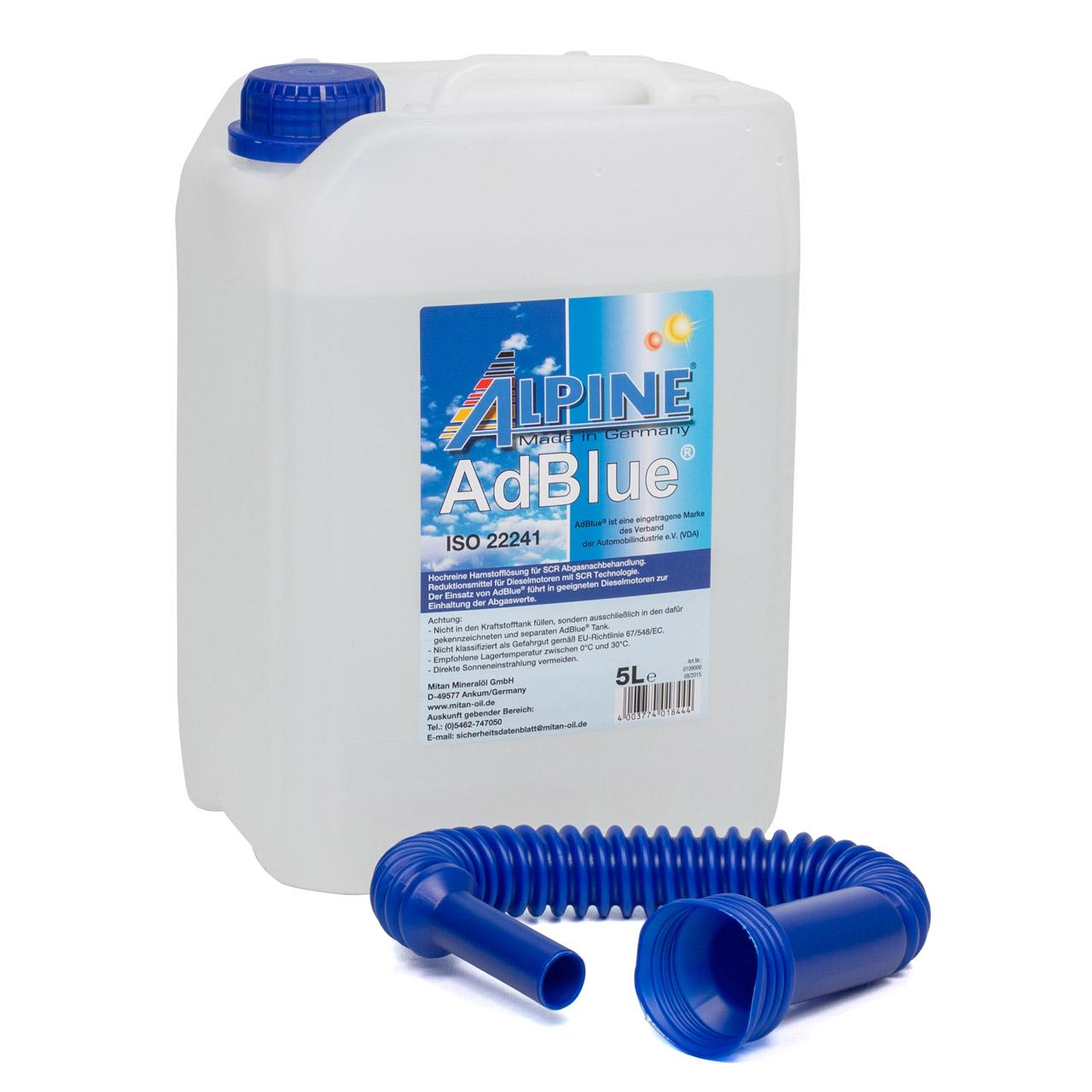 ALPINE AdBlue® NOX-Reduktionsmittel für Diesel-Motoren Harnstoff 5L 5-Liter