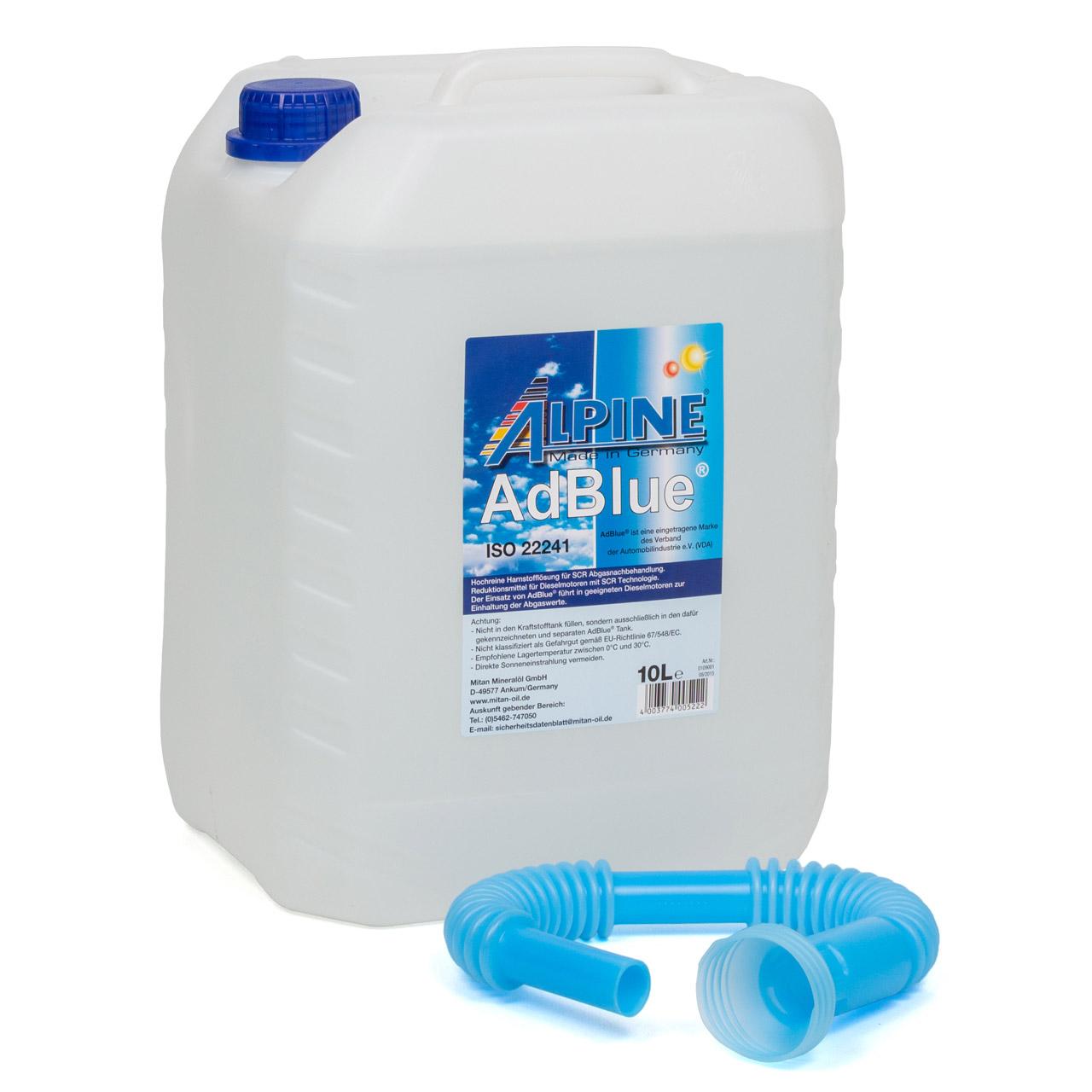 ALPINE AdBlue® NOX-Reduktionsmittel für Diesel-Motoren Harnstoff 10L 10-Liter