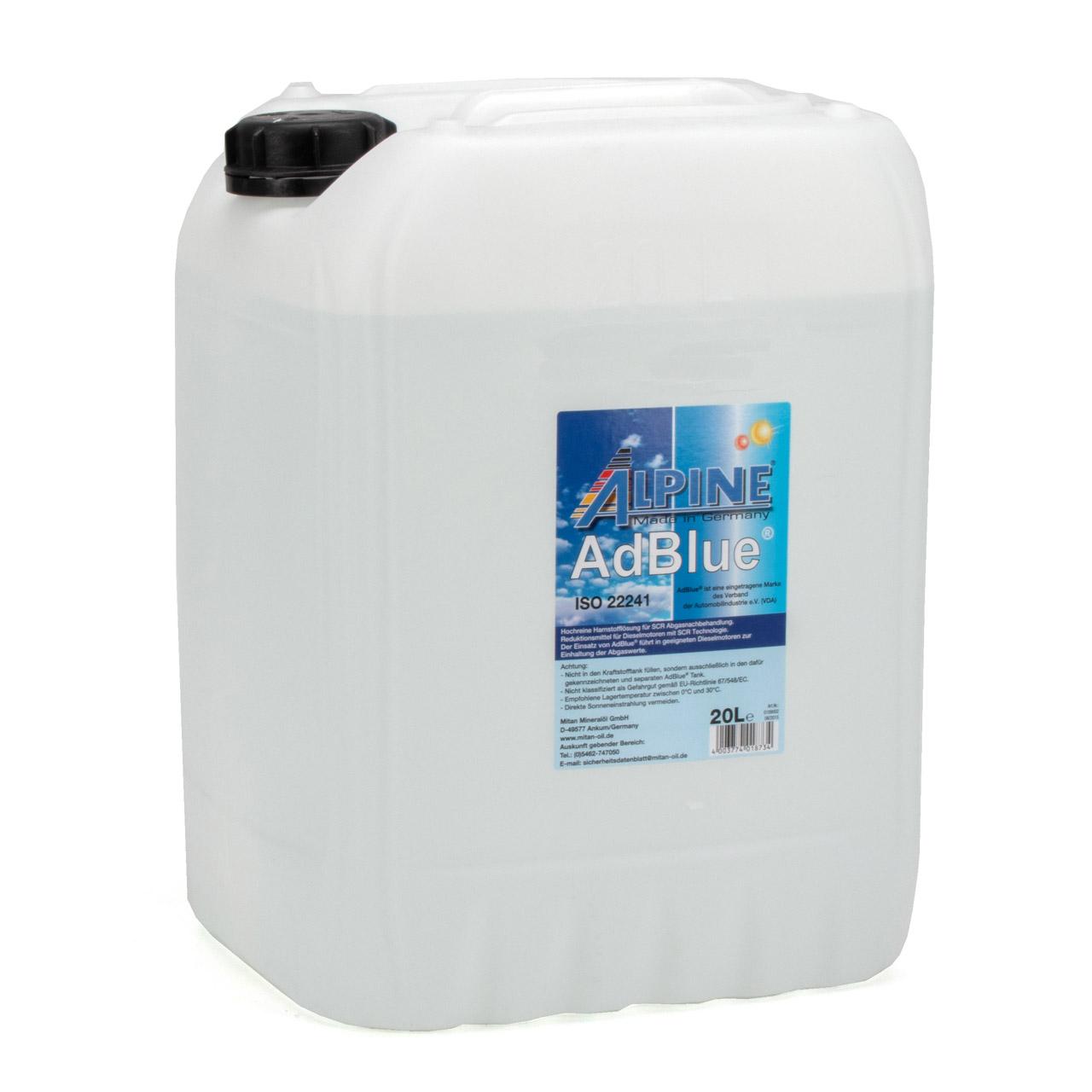 ALPINE AdBlue® NOX-Reduktionsmittel für Diesel-Motoren Harnstoff 20L 20-Liter