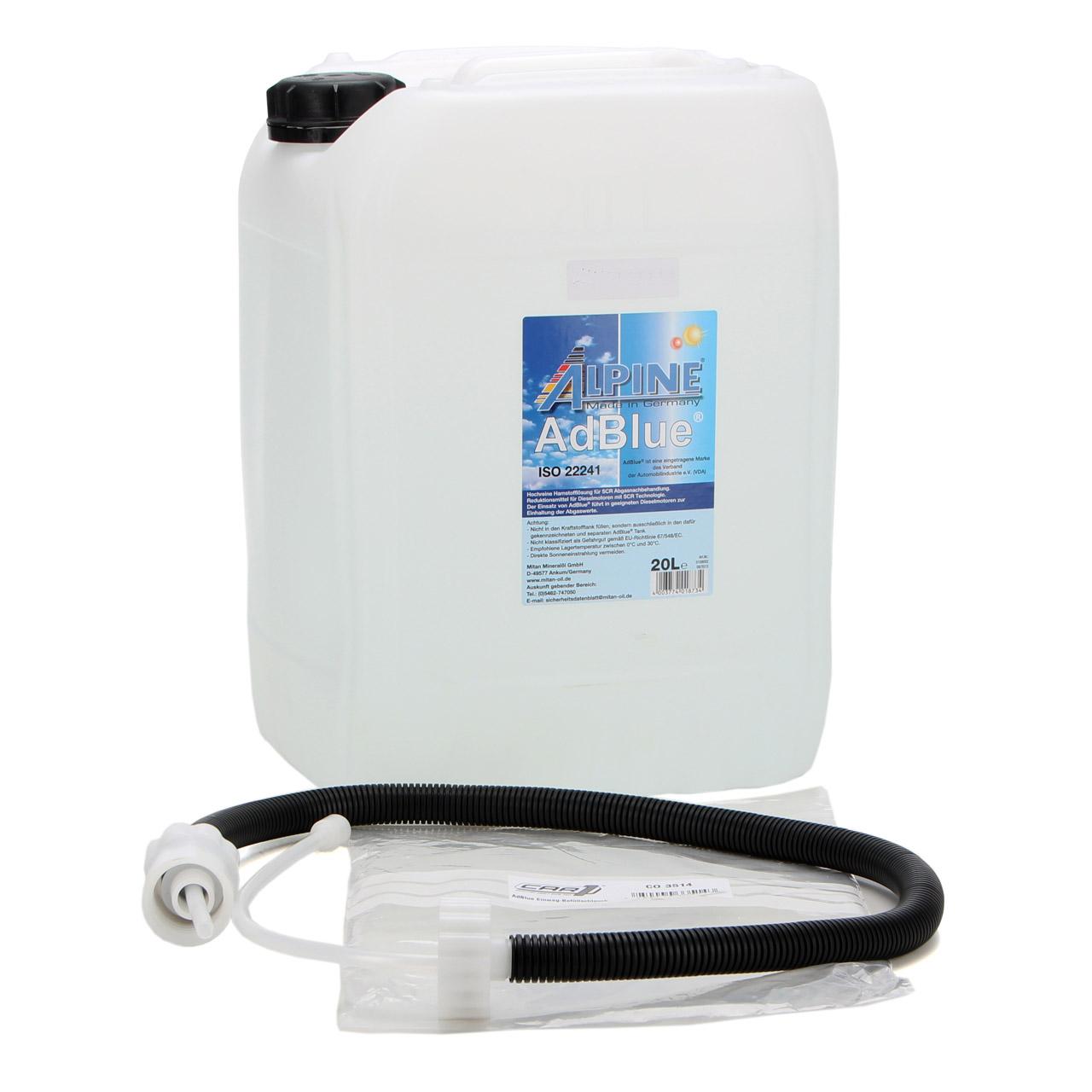 ALPINE AdBlue® NOX-Reduktionsmittel für Diesel-Motoren 20-Liter + Befüllschlauch