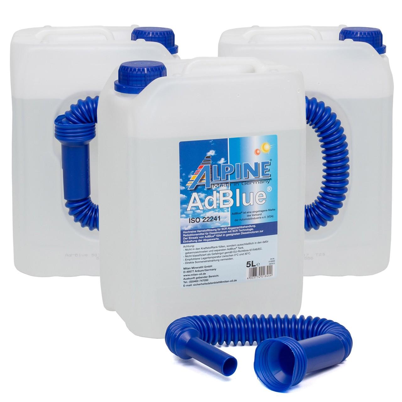 ALPINE AdBlue® NOX-Reduktionsmittel für Diesel-Motoren Harnstoff 3x 5L 5-Liter