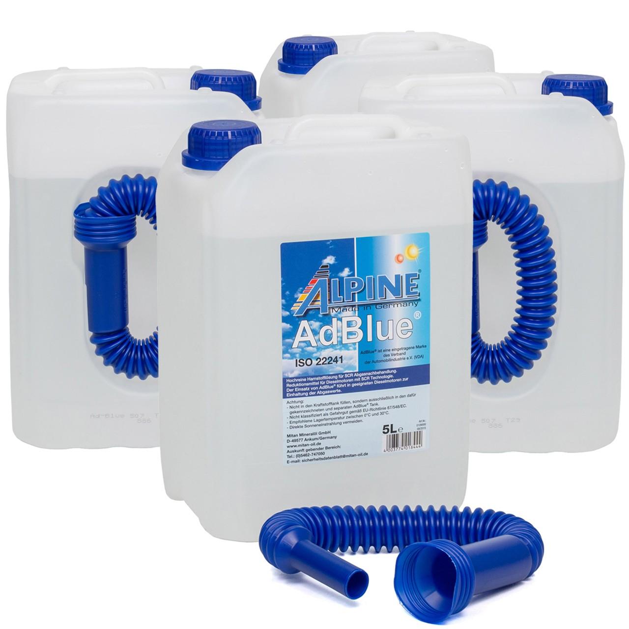 ALPINE AdBlue® NOX-Reduktionsmittel für Diesel-Motoren Harnstoff 4x 5L 5-Liter