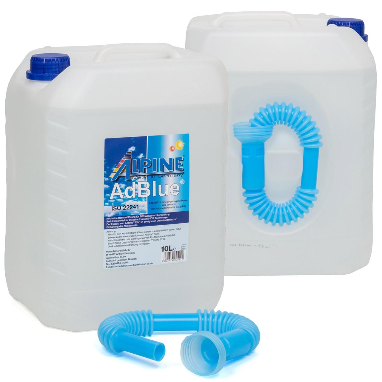ALPINE AdBlue® NOX-Reduktionsmittel für Diesel-Motoren Harnstoff 2x 10L 10-Liter