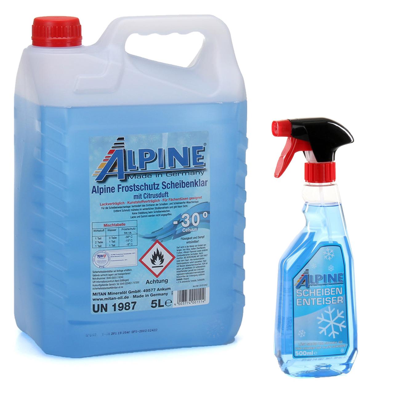 ALPINE SCHEIBENKLAR Scheibenfrostschutz -30°C 5 L + Scheibenenteiser 500ml