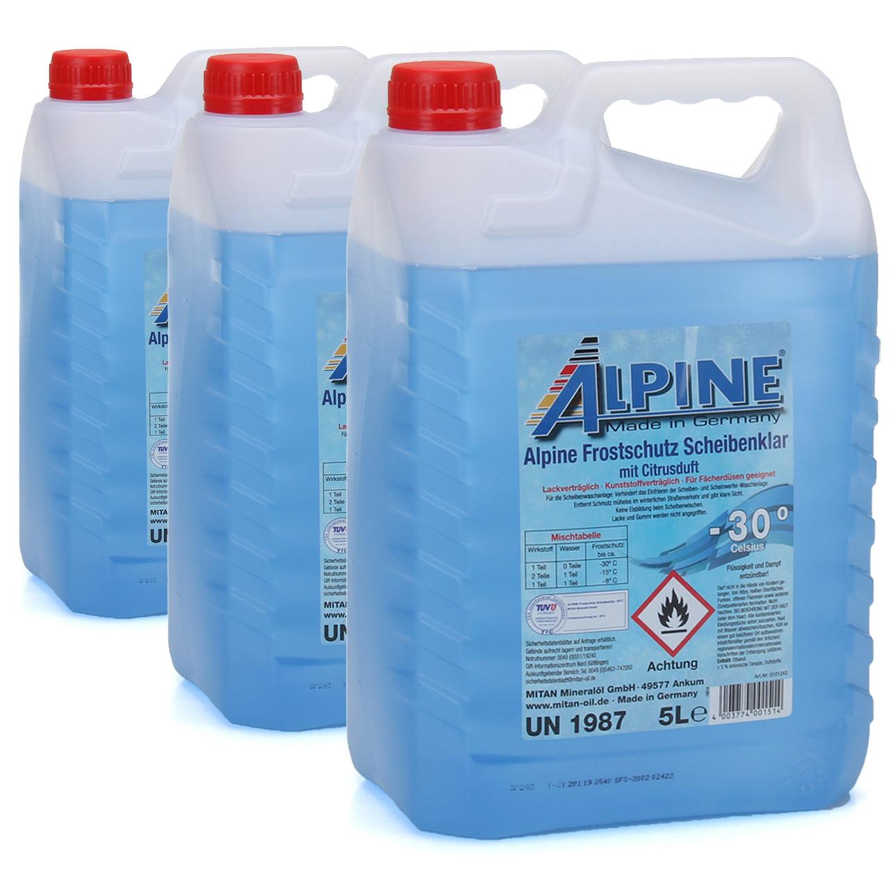 ALPINE Frostschutz SCHEIBENKLAR Scheibenfrostschutz Gebrauchsfertig -30°C 15 L