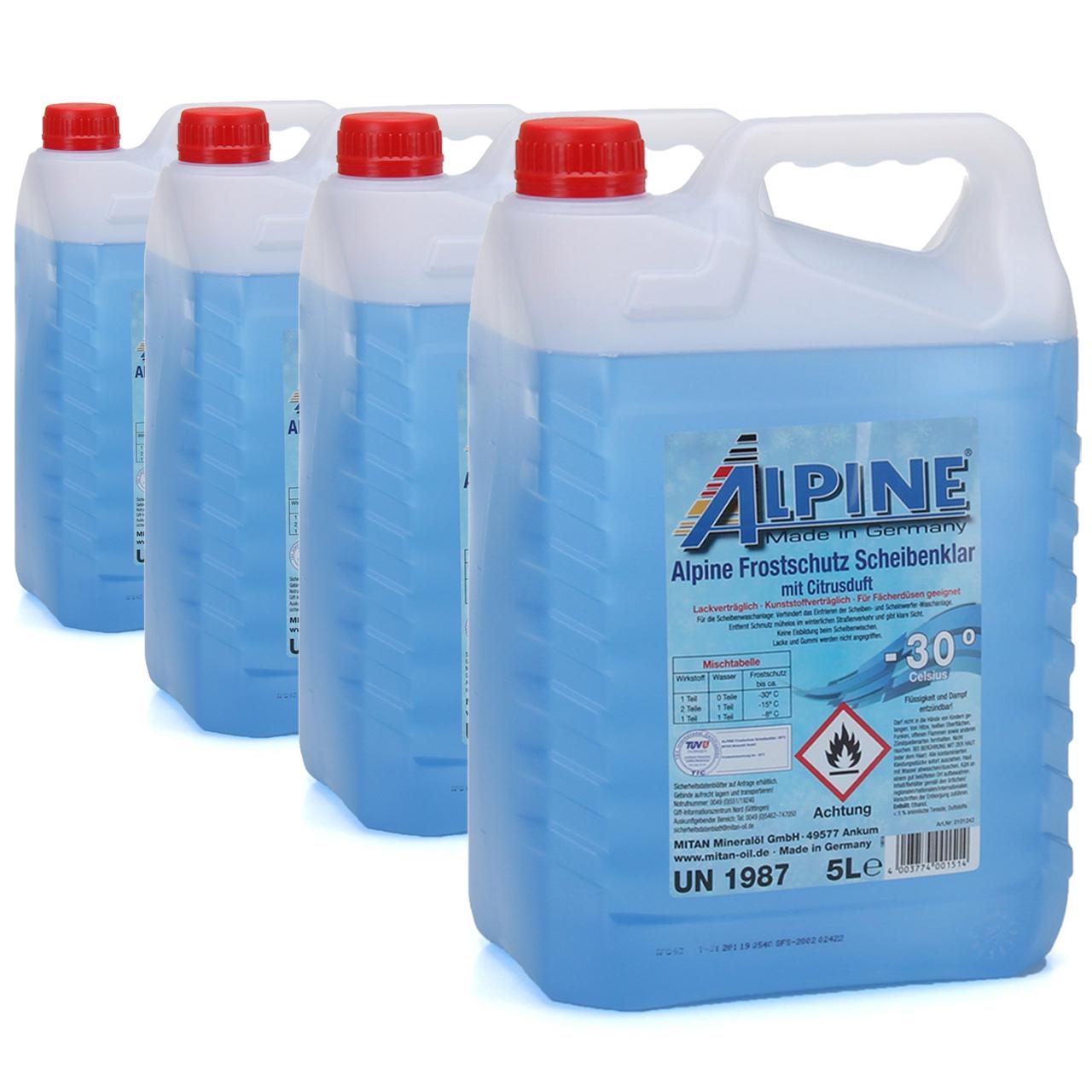ALPINE Frostschutz SCHEIBENKLAR Scheibenfrostschutz Gebrauchsfertig -30°C 20 L