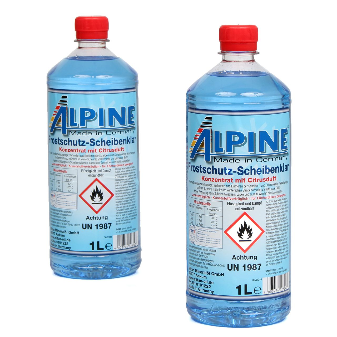 ALPINE Frostschutz SCHEIBENKLAR Scheibenfrostschutz Konzentrat -60°C BLAU 2L