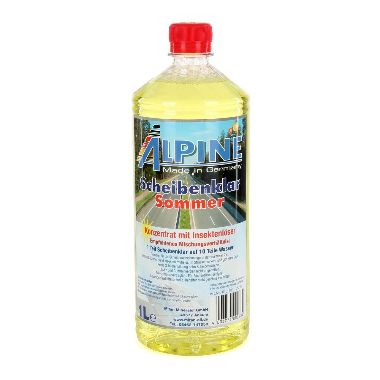 ALPINE Scheibenklar Sommer 1:10 Konzentrat Insektenlöser Citrusduft - 6L 6 Liter