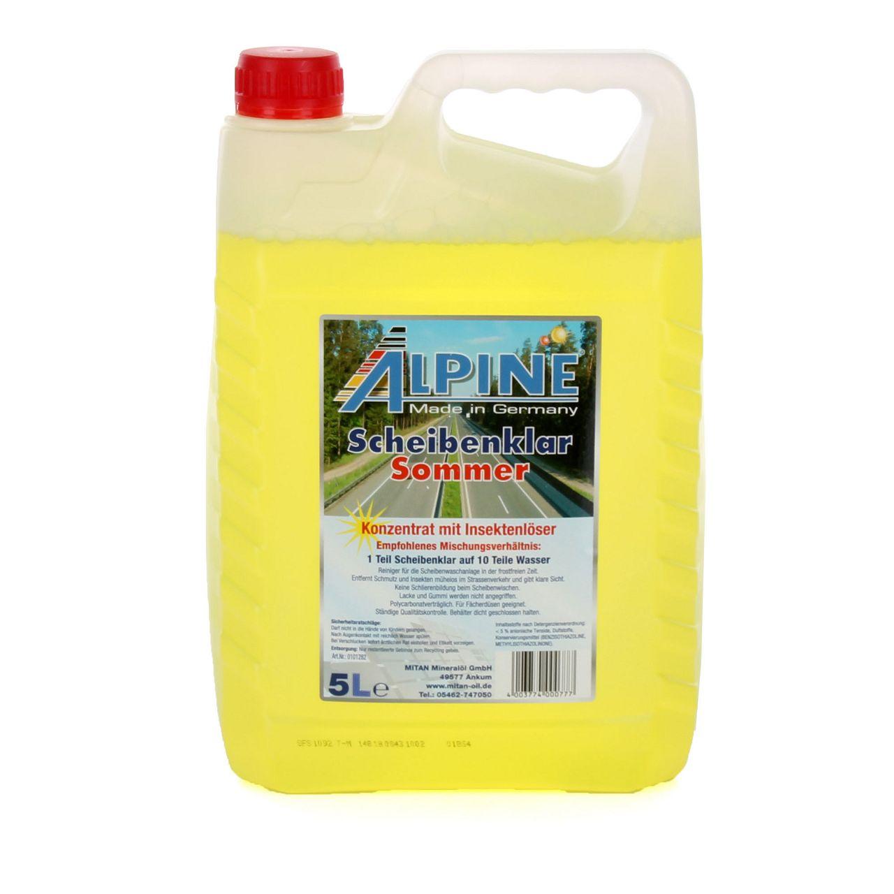 ALPINE Scheibenklar Sommer 1:10 Konzentrat Insektenlöser Citrusduft - 5L 5 Liter