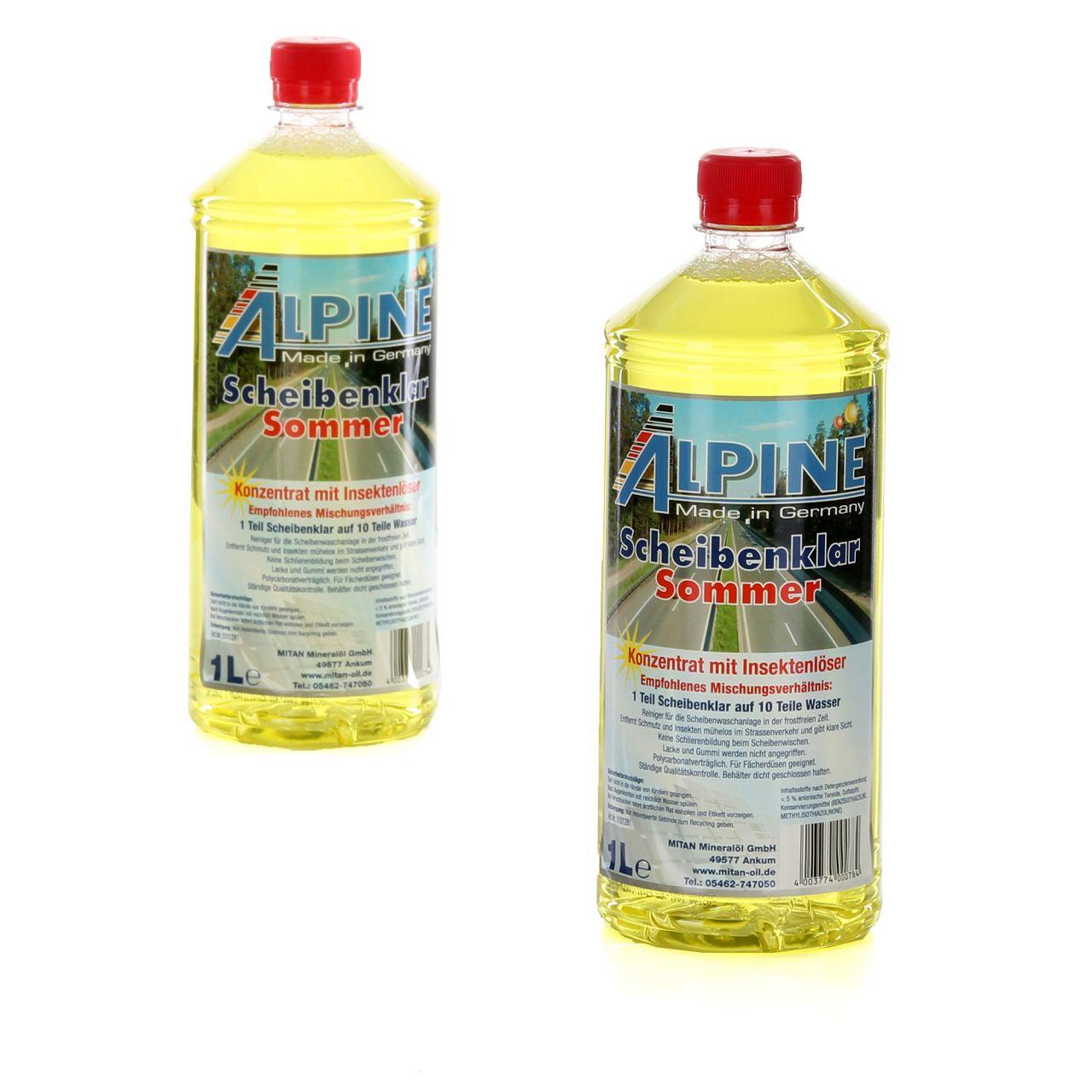 ALPINE Scheibenklar Sommer 1:10 Konzentrat Insektenlöser Citrusduft - 2L 2 Liter