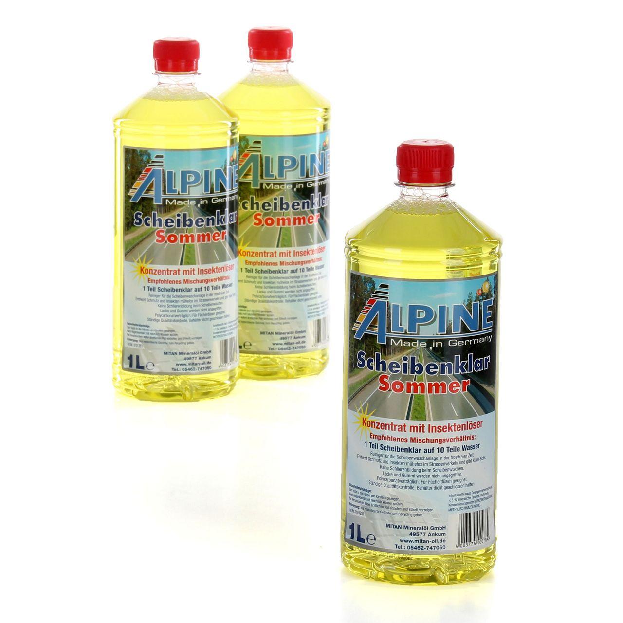 ALPINE Scheibenklar Sommer 1:10 Konzentrat Insektenlöser Citrusduft - 3L 3 Liter