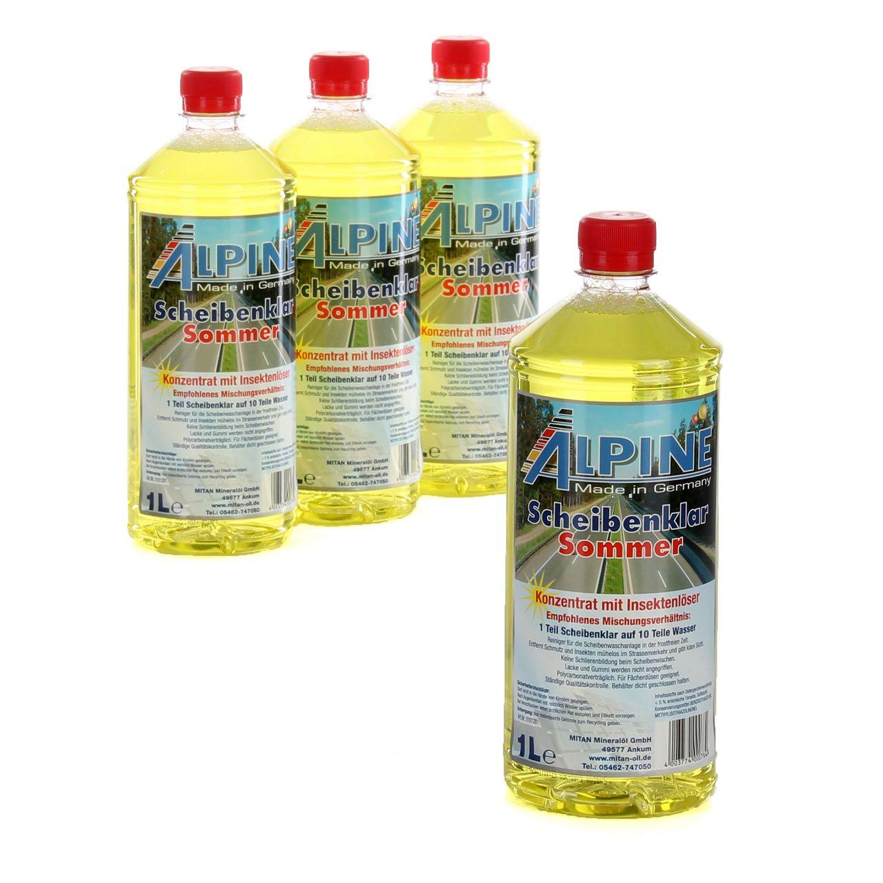 ALPINE Scheibenklar Sommer 1:10 Konzentrat Insektenlöser Citrusduft - 4L 4 Liter
