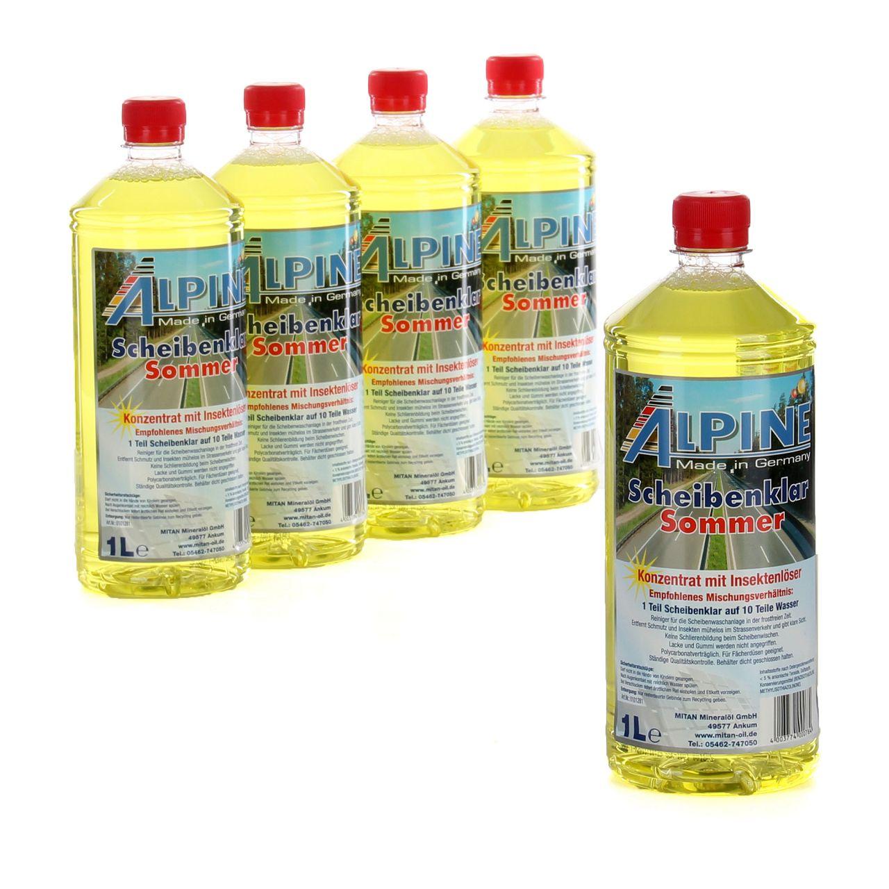 5x 1 Liter ALPINE Scheibenklar Sommer 1:10 Konzentrat Insektenlöser Citrusduft