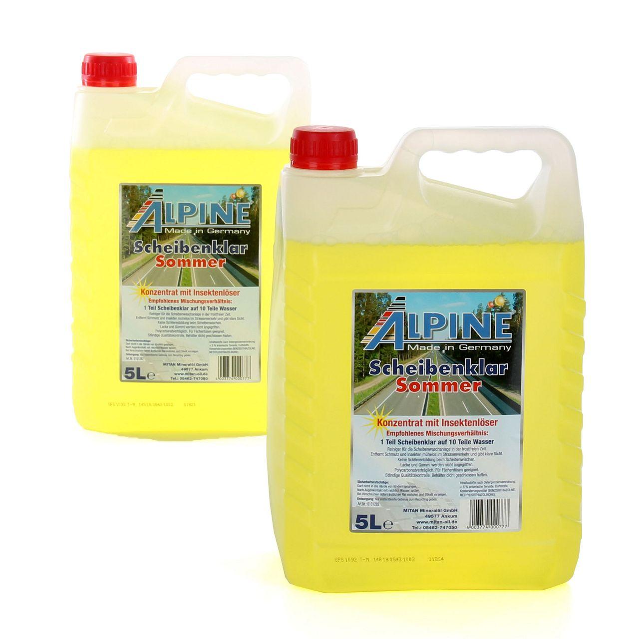 ALPINE Scheibenklar Sommer 1:10 Konzentrat Insektenlöser Citrusduft - 10 Liter