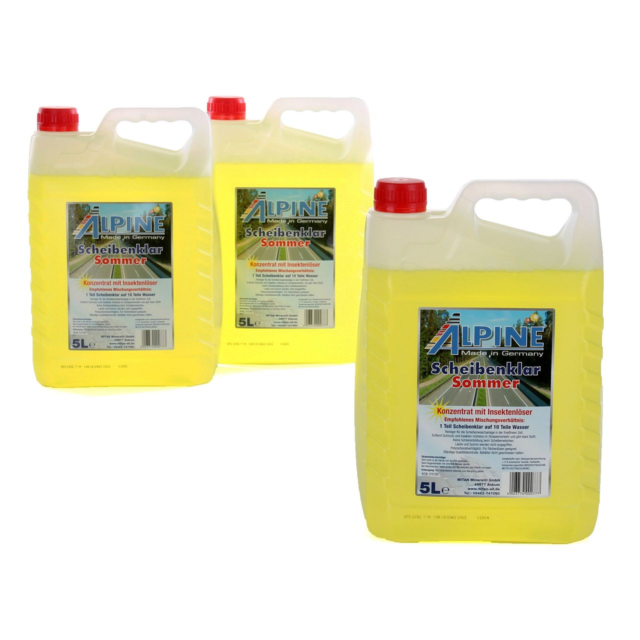ALPINE Scheibenklar Sommer 1:10 Konzentrat Insektenlöser Citrusduft - 15 Liter