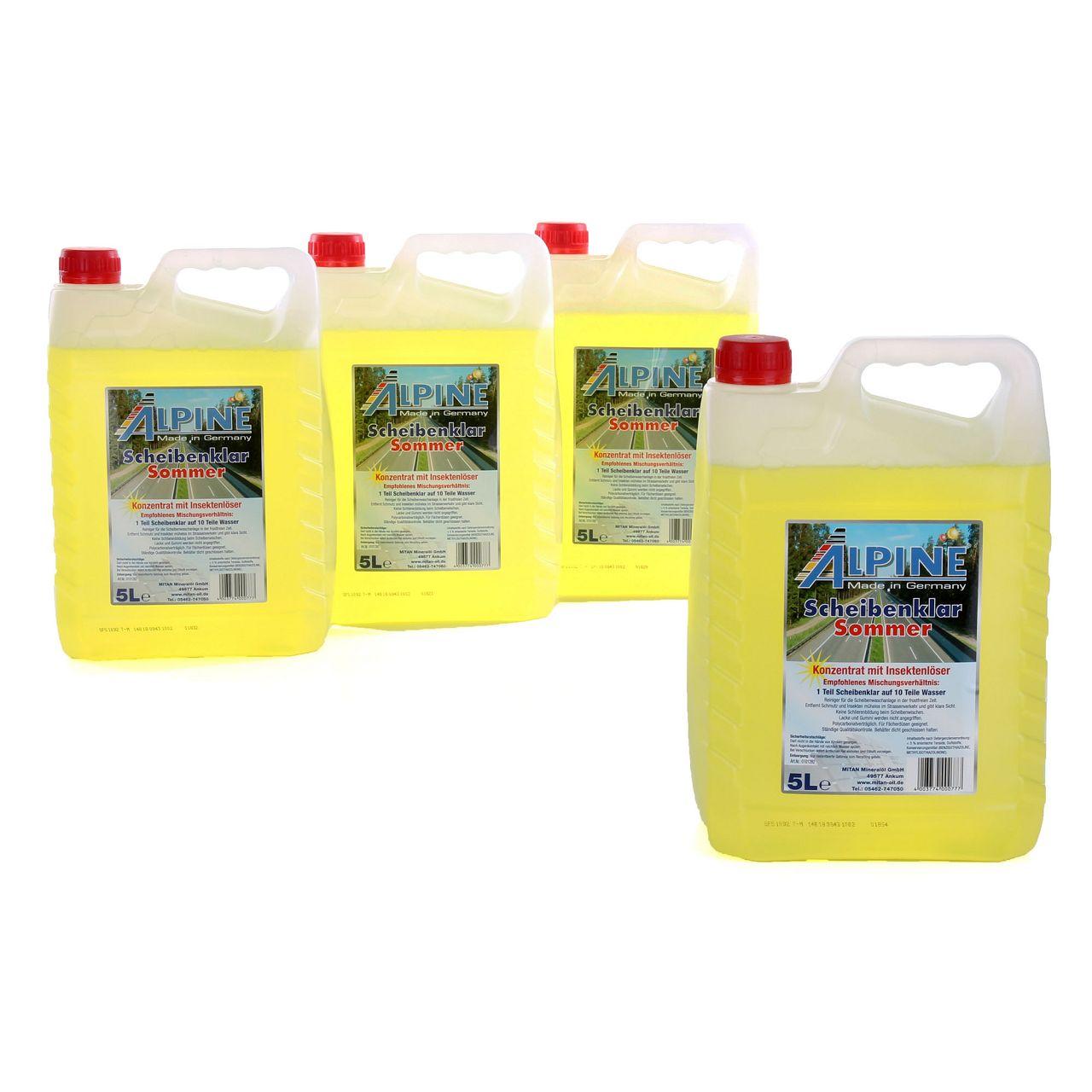 ALPINE Scheibenklar Sommer 1:10 Konzentrat Insektenlöser Citrusduft - 20 Liter