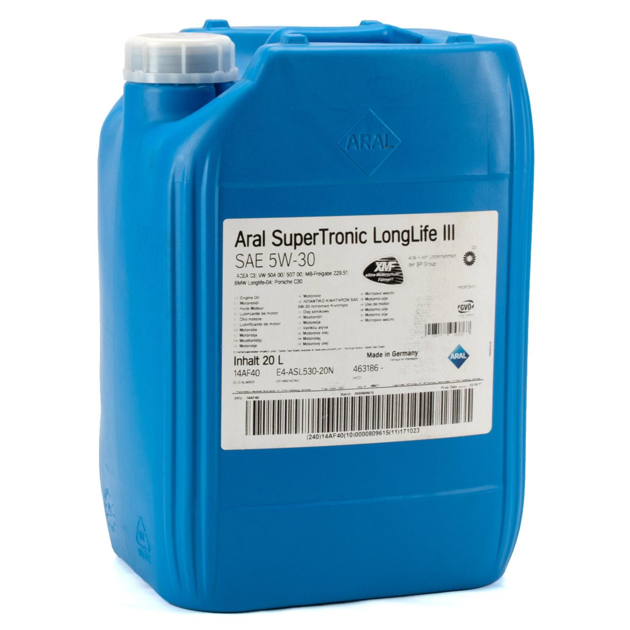ARAL Motoröl Öl SUPER TRONIC LongLife III 5W30 für VW 504.00/507.00 - 20 Liter