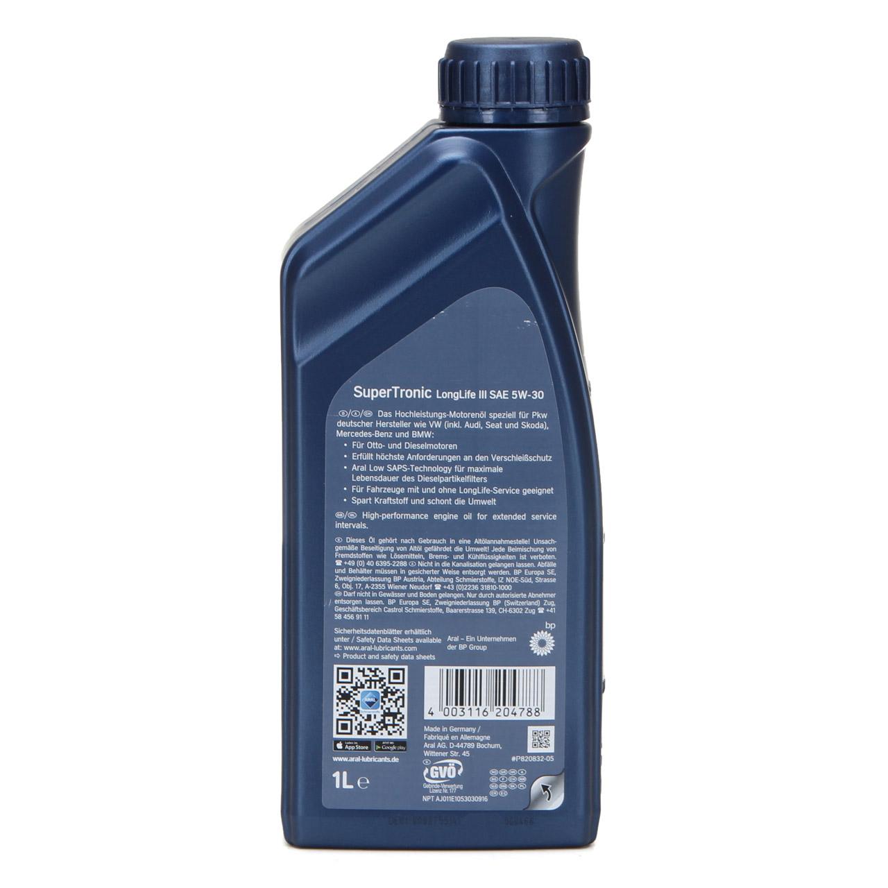 ARAL Motoröl Öl SUPER TRONIC LongLife III 5W30 für VW 504.00/507.00 - 1 Liter