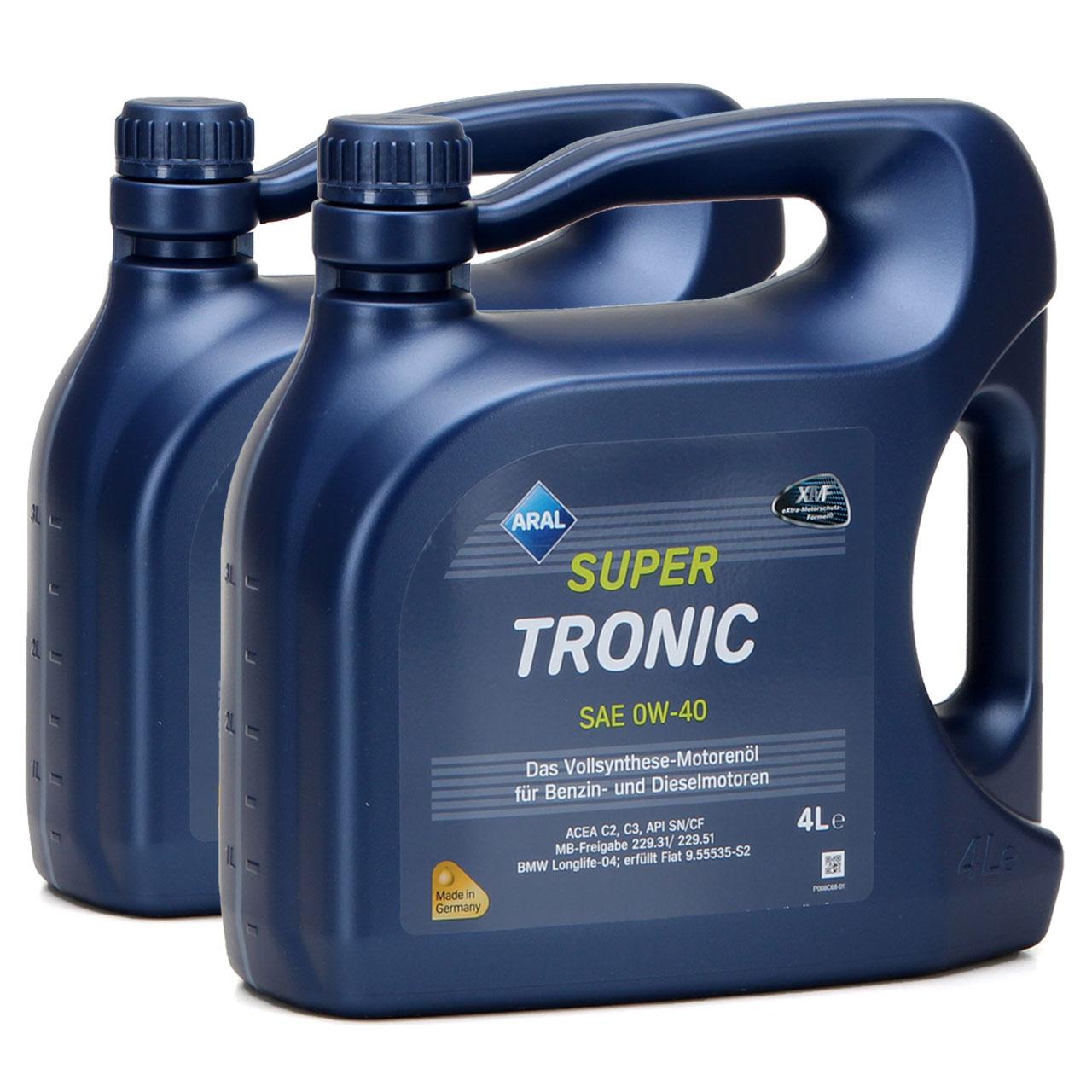 ARAL Motoröl Öl SUPER TRONIC 0W-40 0W40 MB 229.31/229.51 BMW LL-04 - 8L 8 Liter