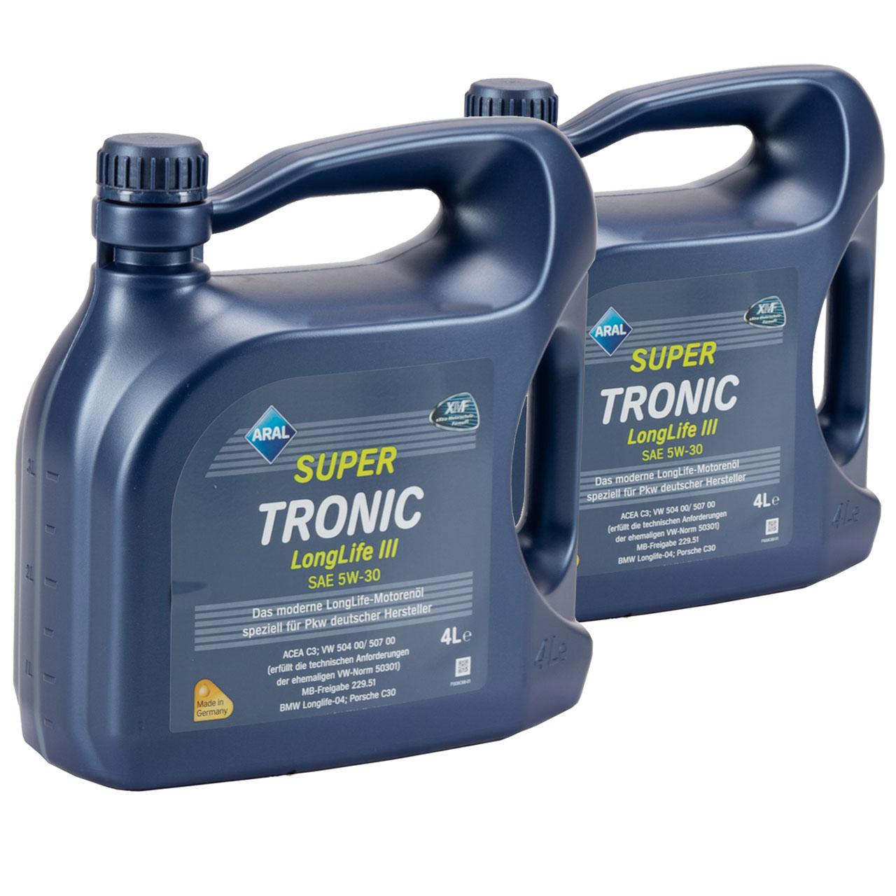 ARAL Motoröl Öl SUPER TRONIC LongLife III 5W30 für VW 504.00/507.00 - 8L 8 Liter