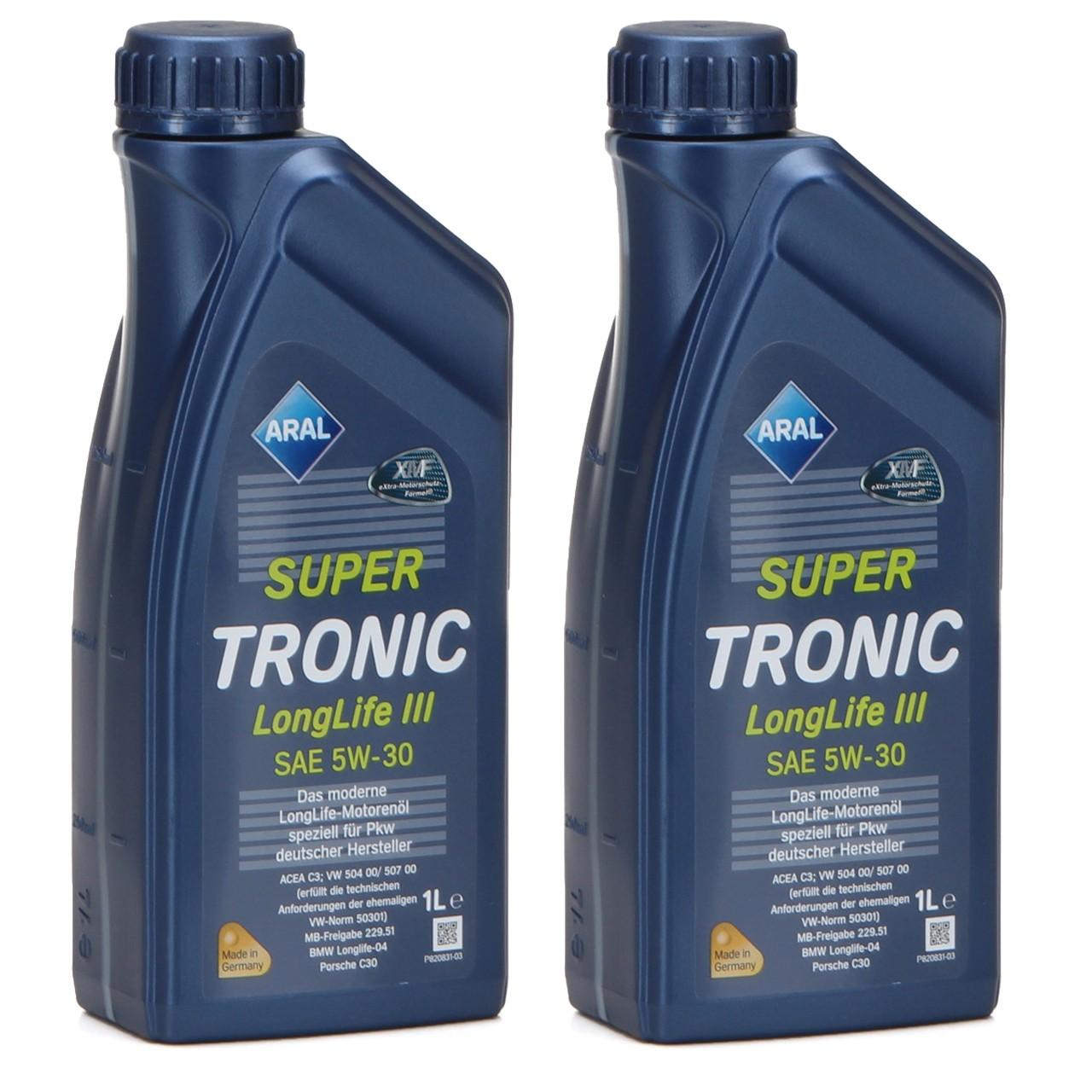 ARAL Motoröl Öl SUPER TRONIC LongLife III 5W30 für VW 504.00/507.00 - 2 Liter