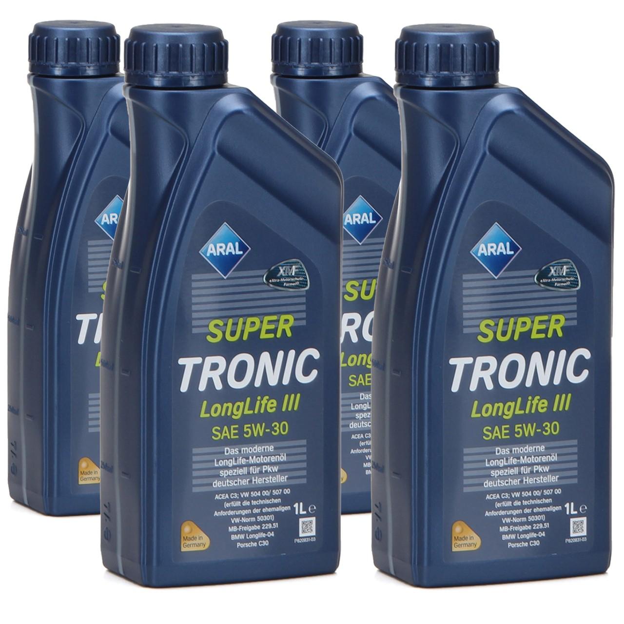 ARAL Motoröl Öl SUPER TRONIC LongLife III 5W30 für VW 504.00/507.00 - 4 Liter