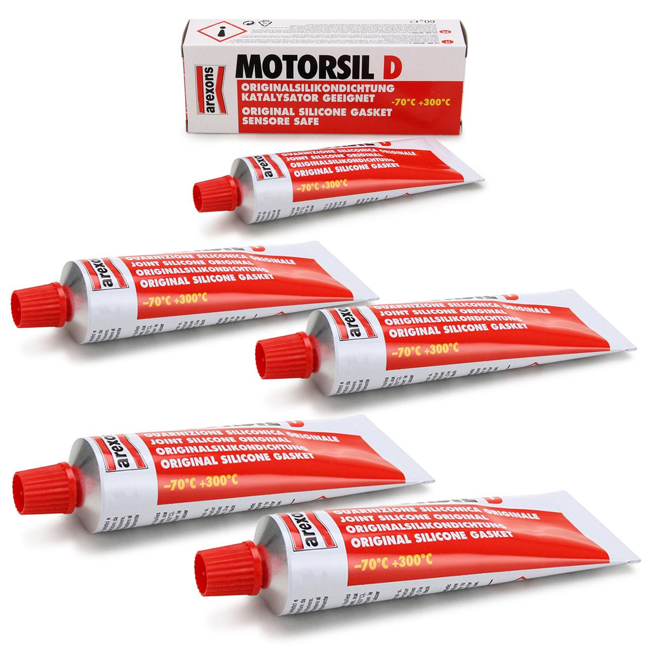 5x 100ml AREXONS Motorsil D Dichtstoff Silikondichtmittel Dichtmittel Tube ROT