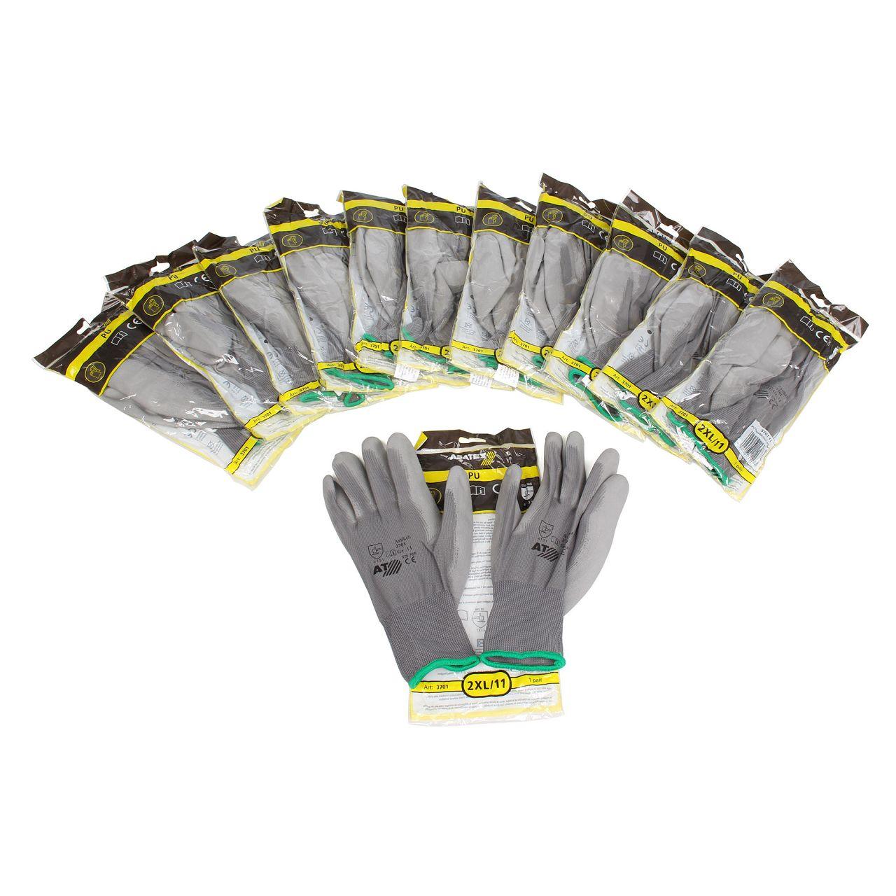 ASATEX 3701 Handschuhe Arbeitshandschuhe GUMMIERT - GRAU Größe 11 / XXL (12)