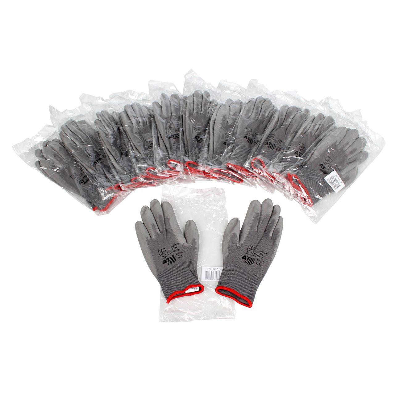 ASATEX 3701 Handschuhe Arbeitshandschuhe GUMMIERT - GRAU Größe 7 / S (12 Paar)