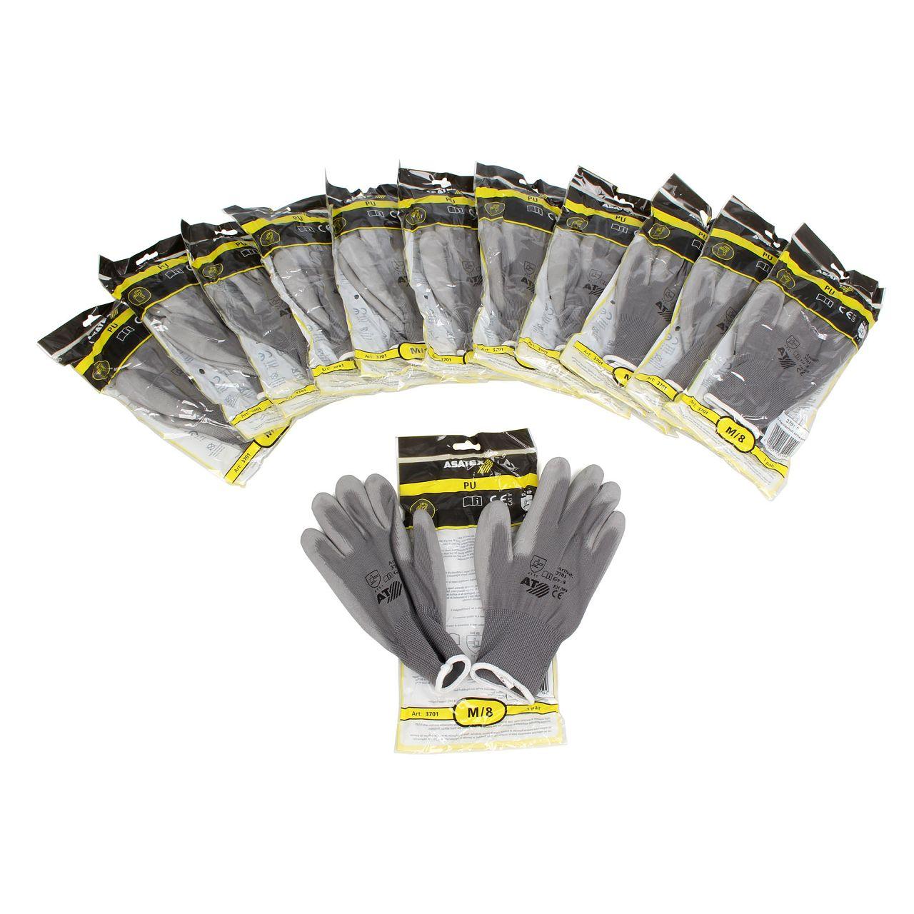ASATEX 3701 Handschuhe Arbeitshandschuhe GUMMIERT - GRAU Größe 8 / M (12 Paar)