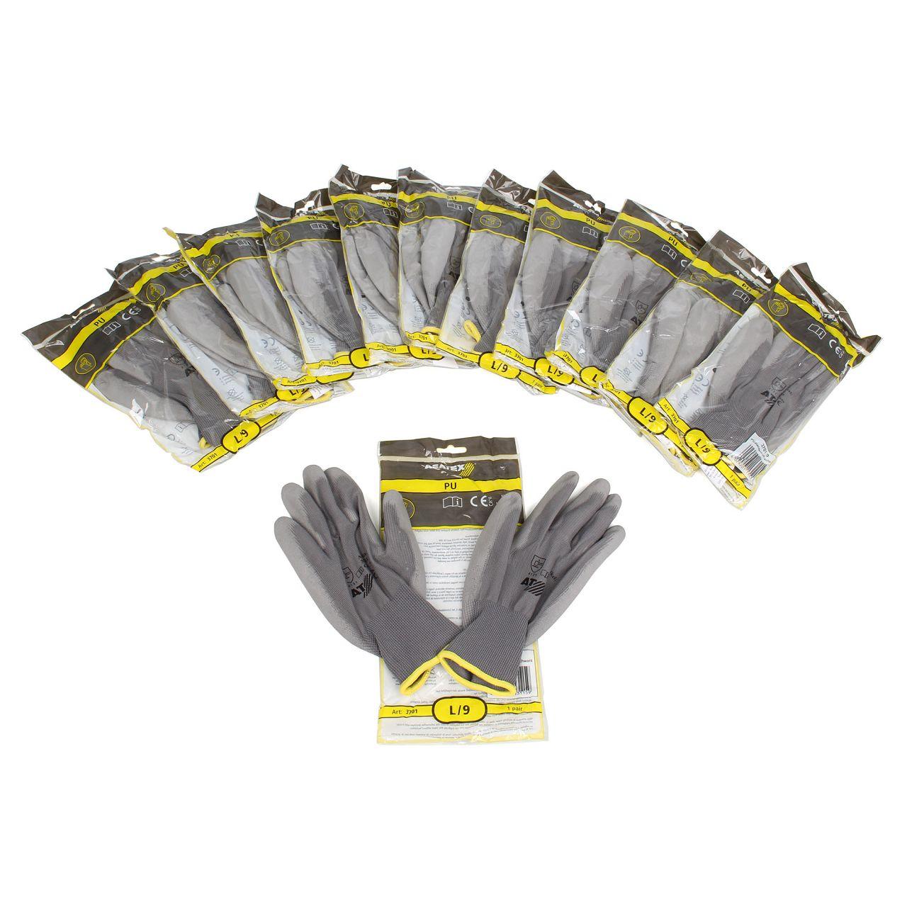 ASATEX 3701 Handschuhe Arbeitshandschuhe GUMMIERT - GRAU Größe 9 / L (12 Paar)